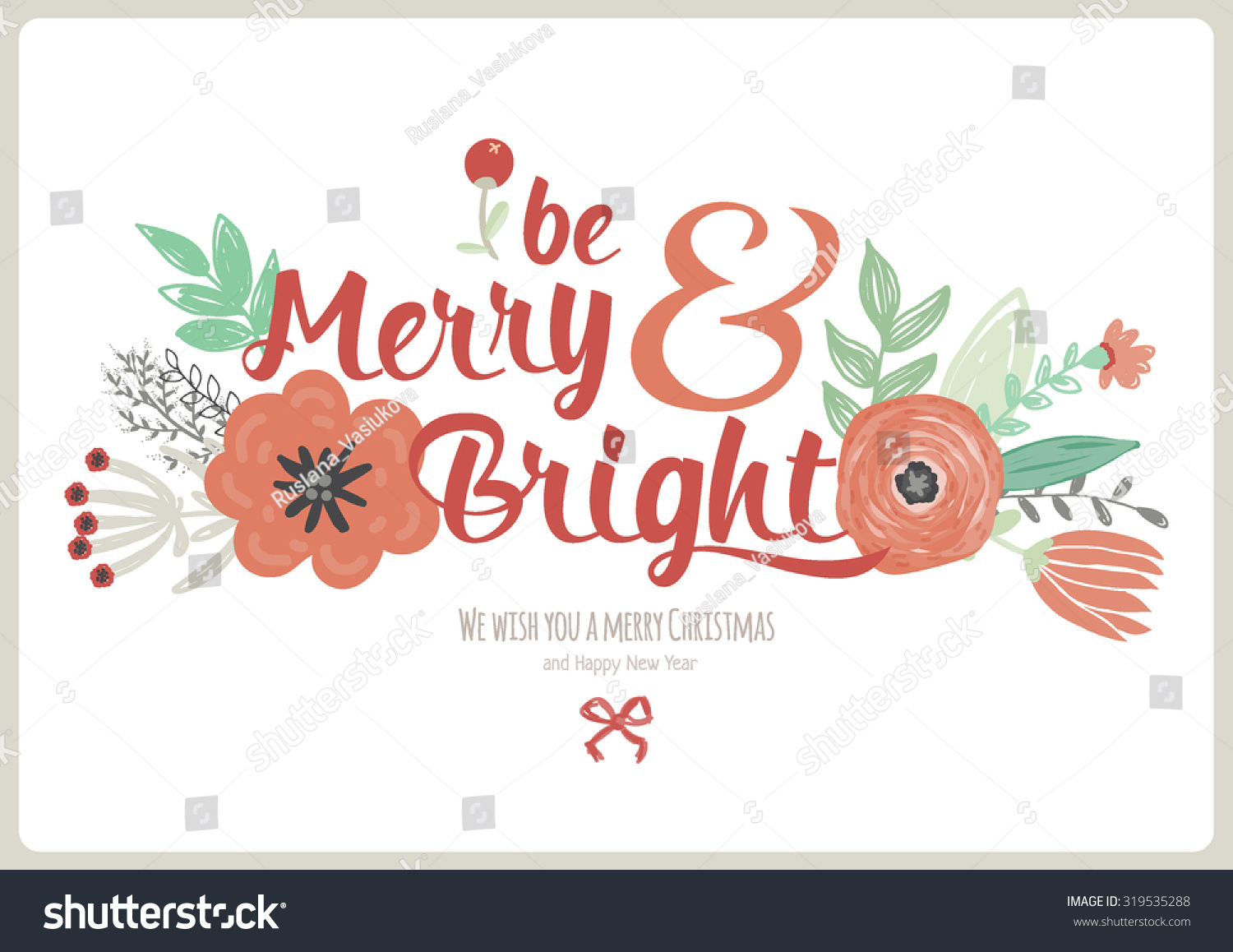 Vintage Merry Christmas Happy New Year Stock Vector (Royalty Free ...