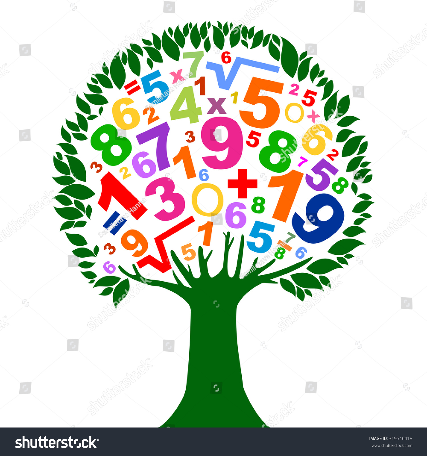 Abstract Colorful Tree Numbers Isolated On Stock Vector 319546418 ...