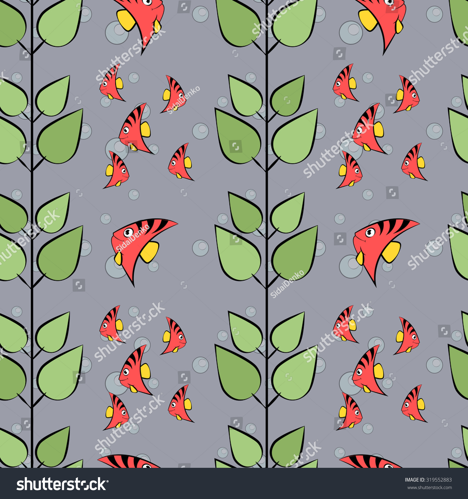 Cute Pattern With Fish And Bubbles And Seaweed Wallpaper Background