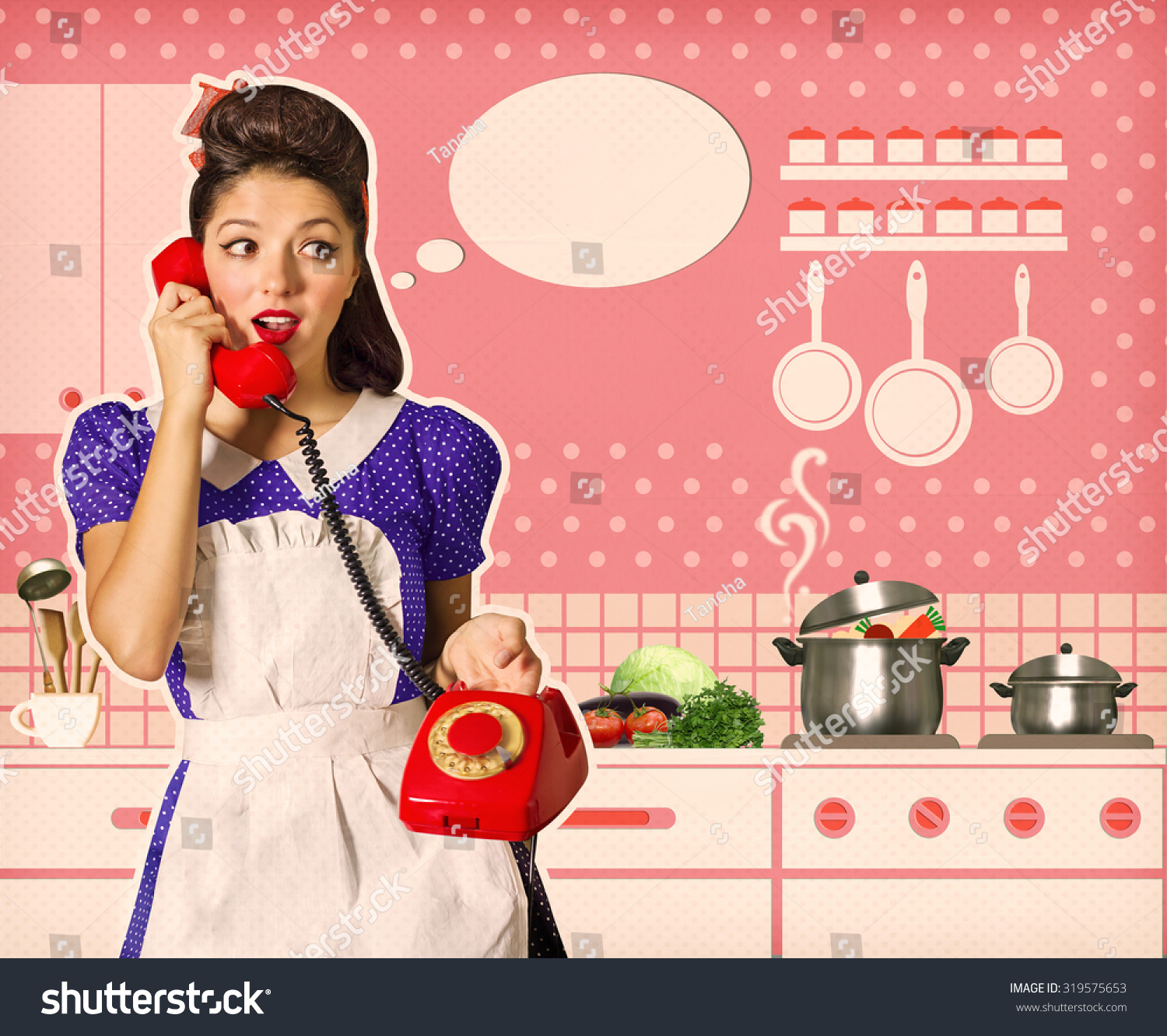 Retro Woman In Kitchen: Retro Young Woman Talking Cooking On Stock Photo 319575653