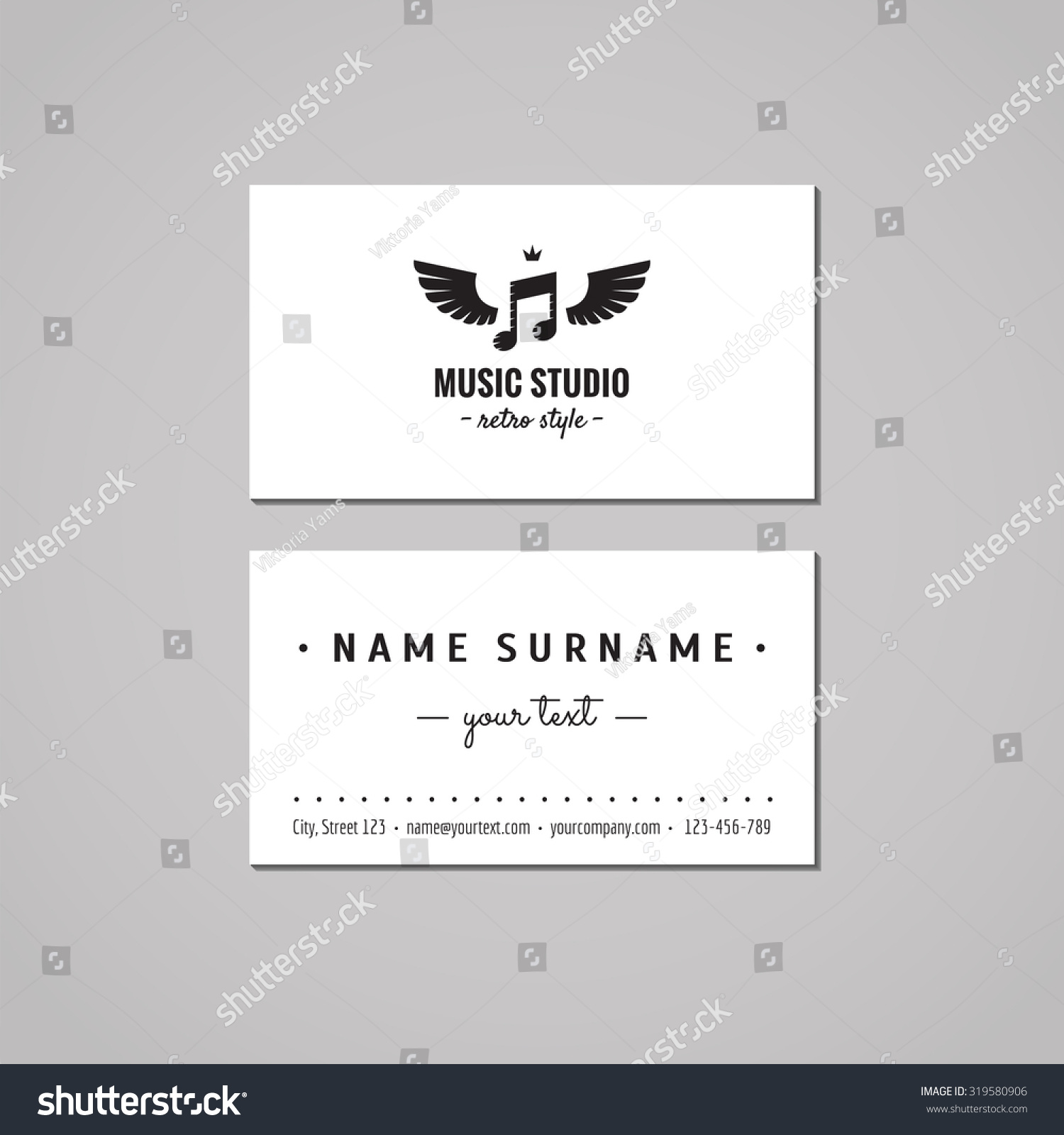 Music Studio Business Card Design Concept Stock Vector