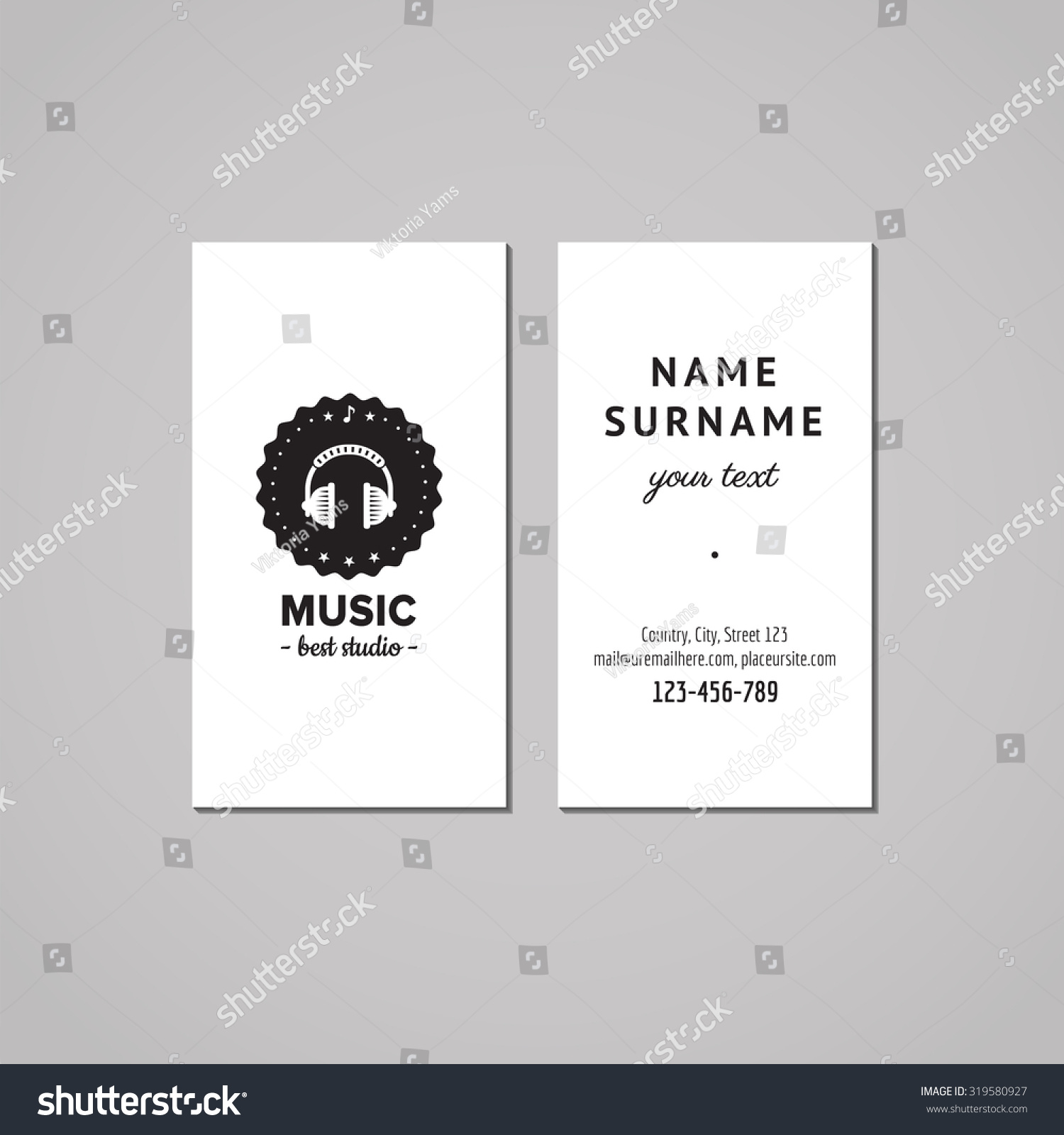 Music studio business card design concept logo badge with for Music business card design