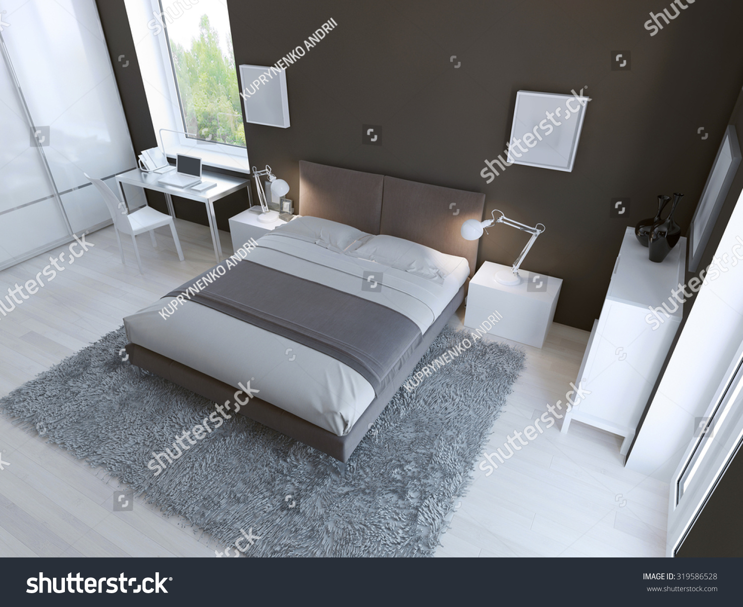 hightech bedroom interior thick pile carpet stock illustration
