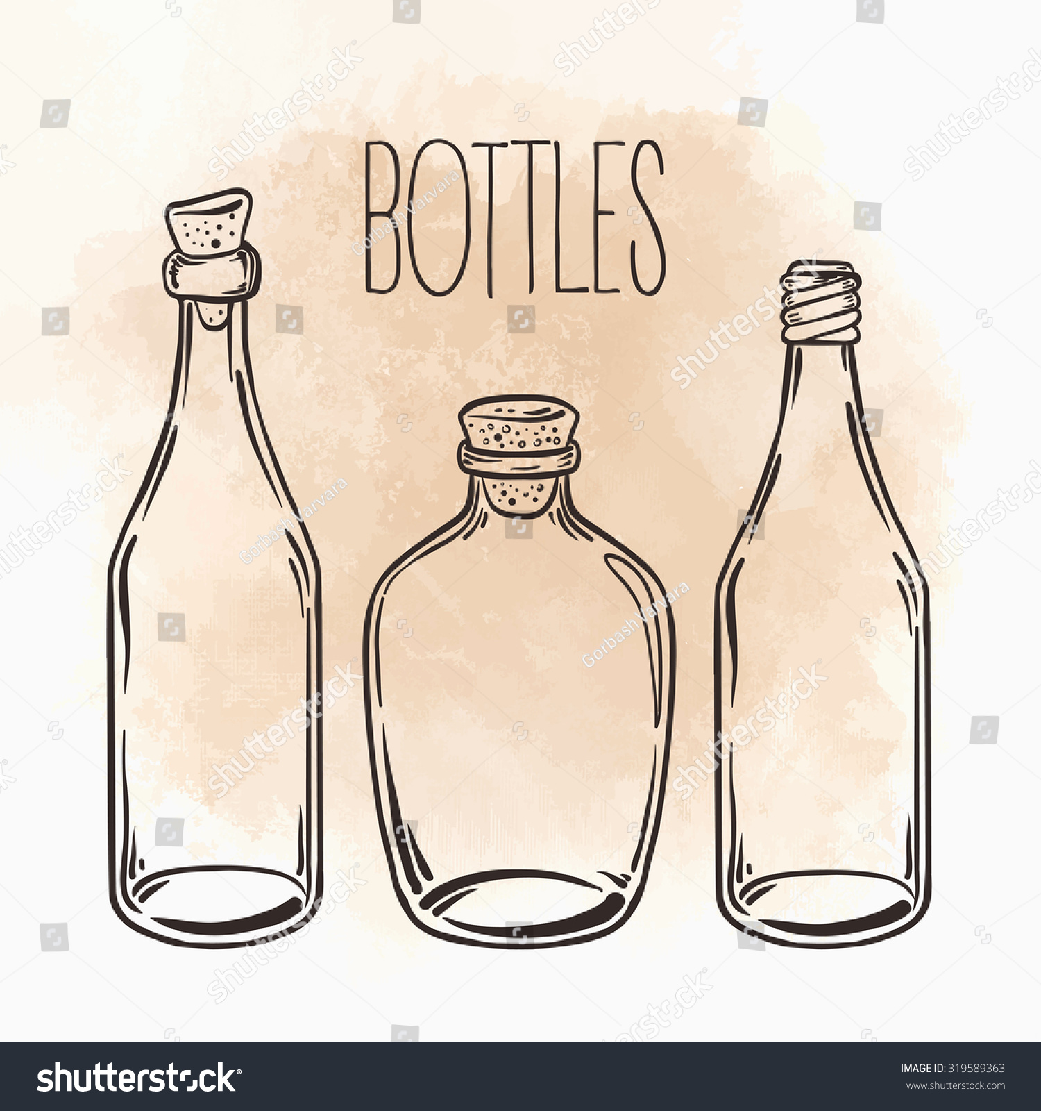 Glass bottles vector illustration isolated on stock vector 319589363 glass bottles vector illustration isolated on vintage beige backgroundk on aged card paper biocorpaavc Gallery