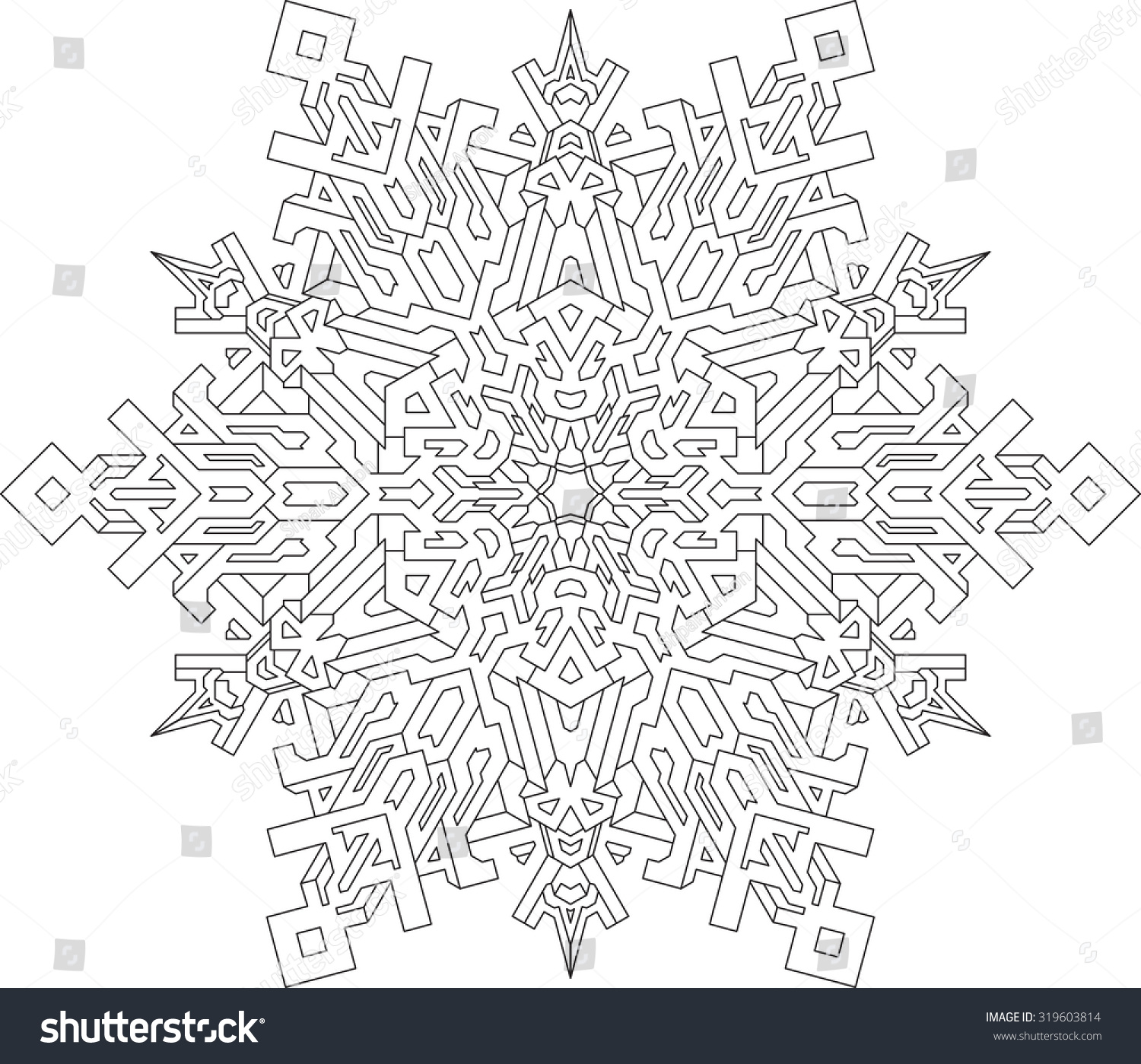 Outlines Snowflake Mono Line Style Coloring Stock Vector