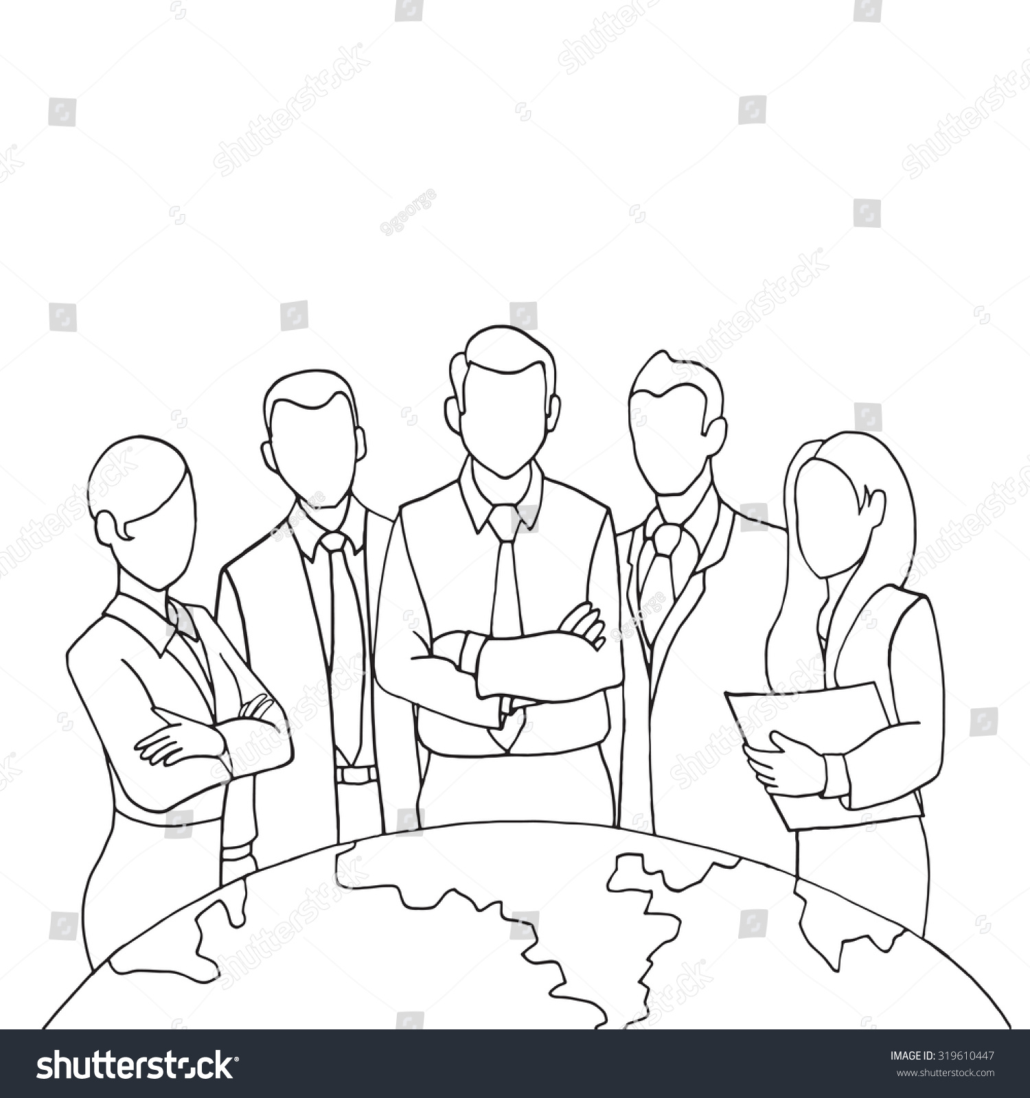 hand drawing successful team leader team stock vector 319610447 hand drawing successful team leader a team of successful executives led by a great and