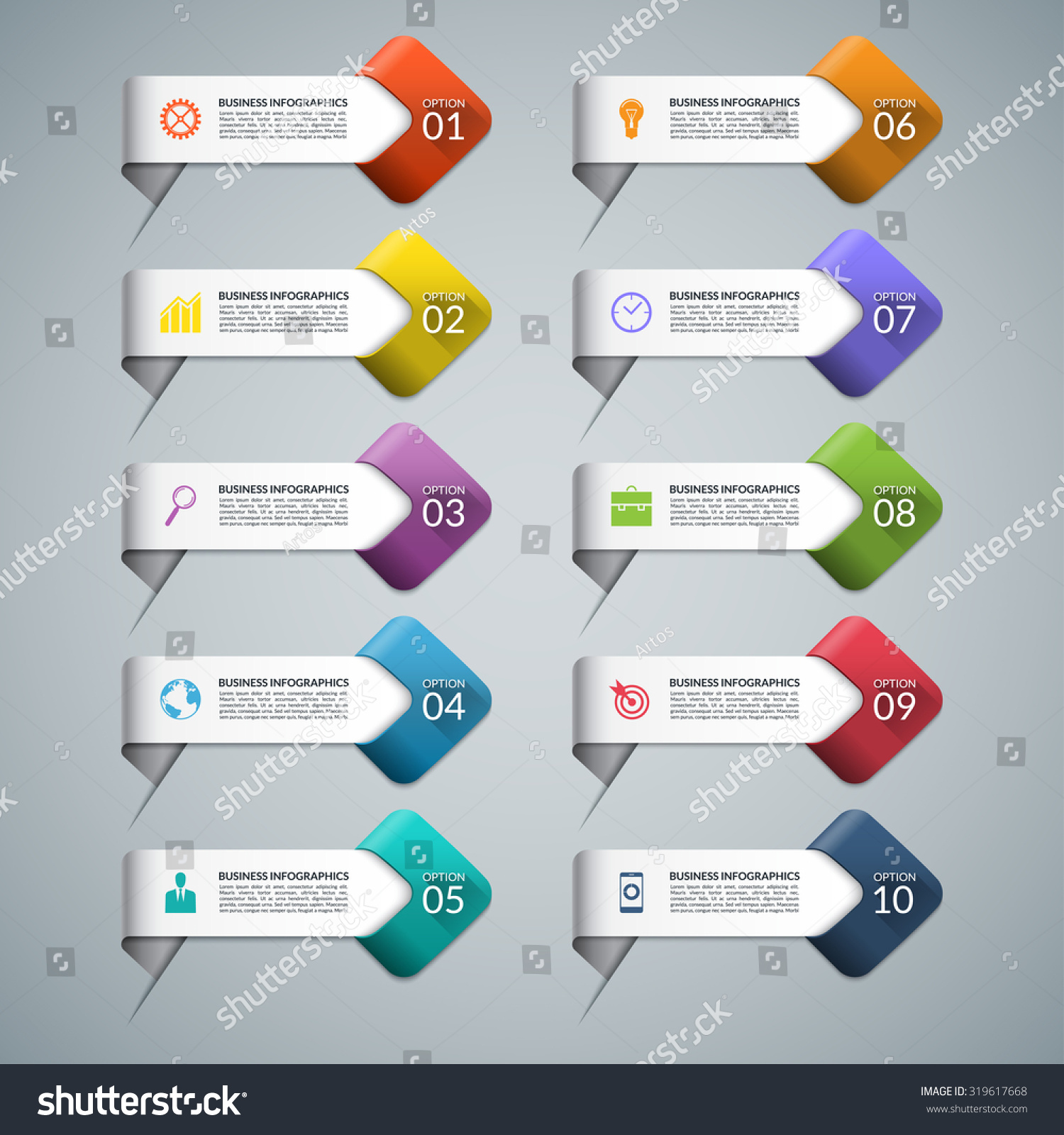 Set Infographic Arrows Business Marketing Icons Stock Photo (Photo ...