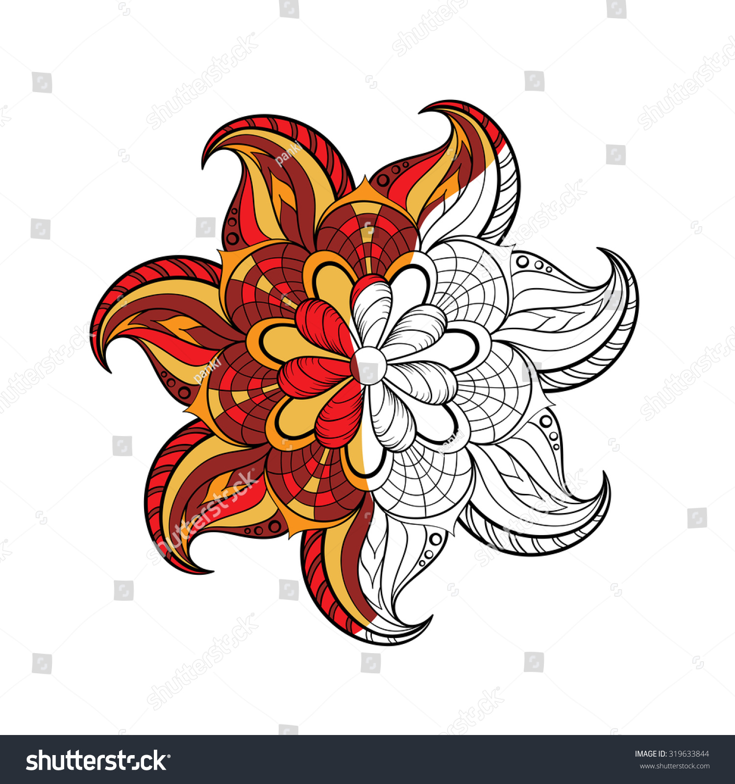 Zentangle Stylized Arabic Indian Round Mandala Stock Vector ...