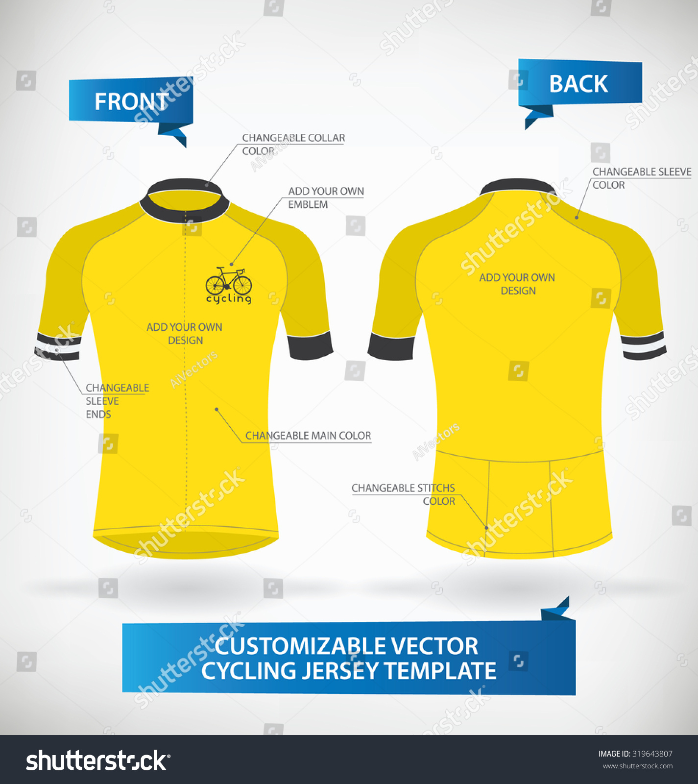 Cycling shirt design your own - Customizable Vector Cycling Jersey Template