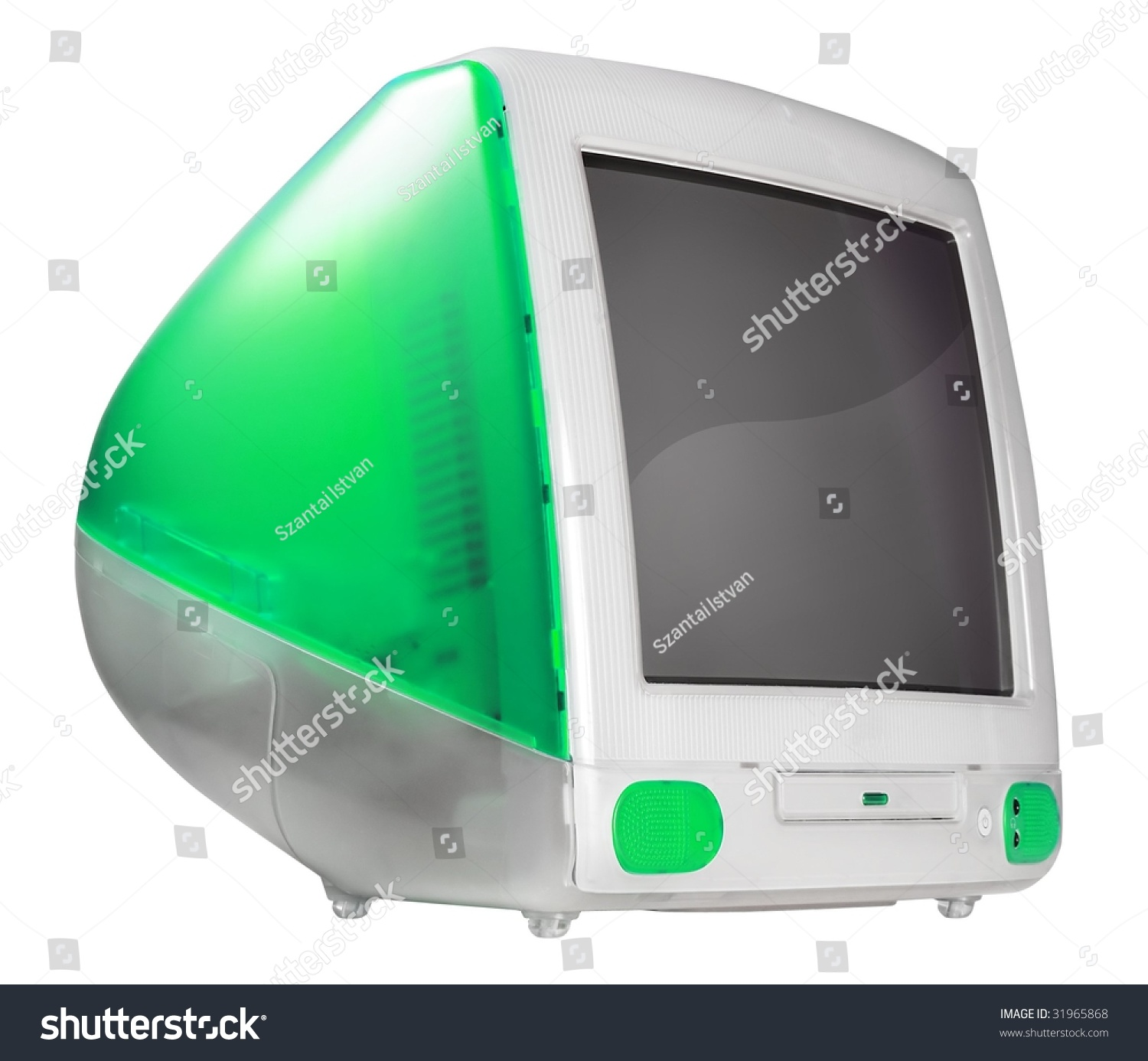 Old CRT Monitor Over White Background Stock Photo (Edit Now