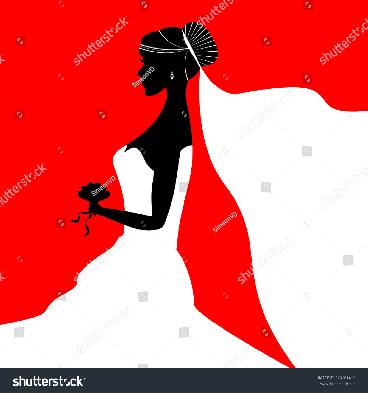 Beautiful Bride Holding Bouquet Vector Silhouette Stock Vector ...