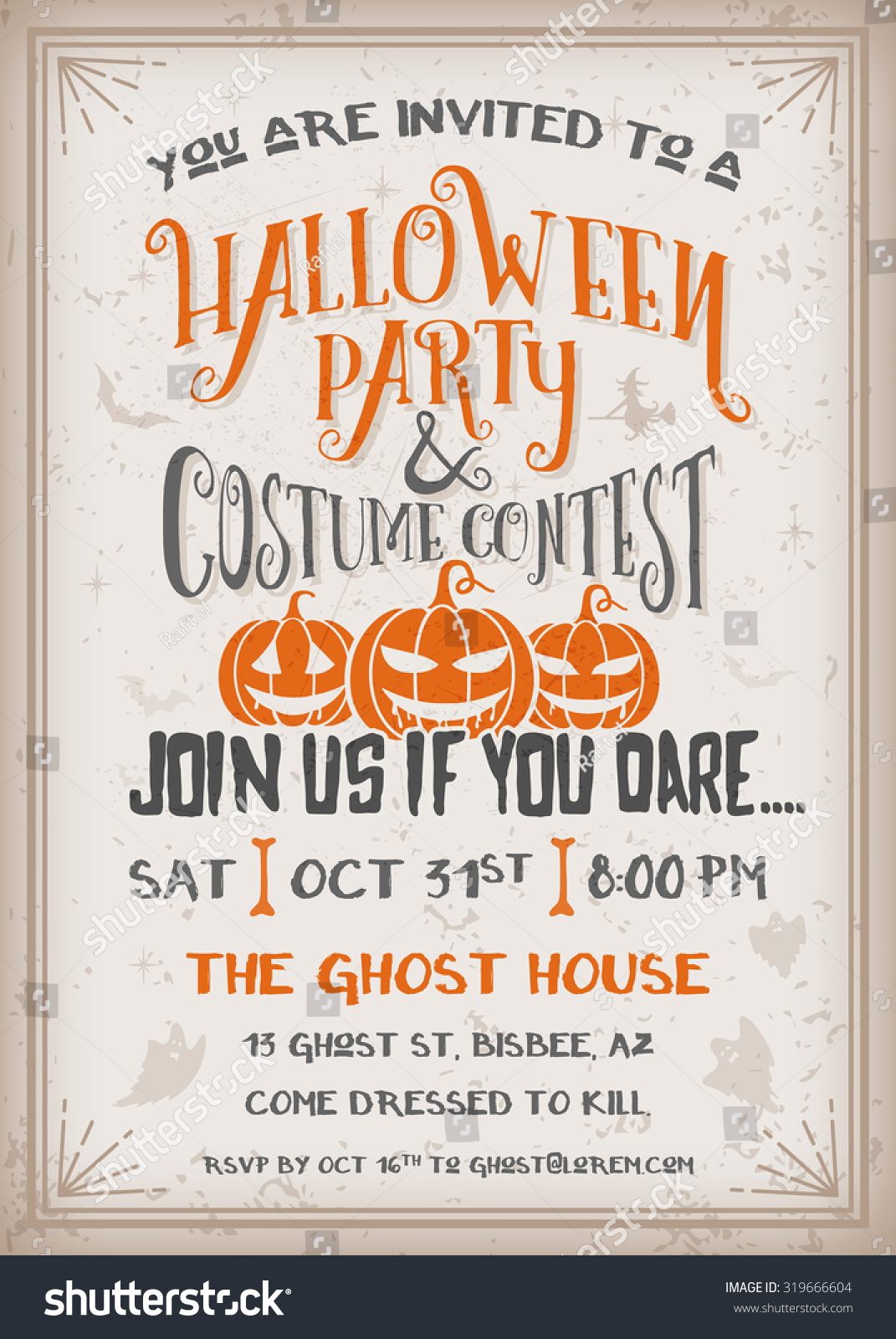 Halloween Party Costume Contest Invitation Scary Stock Vector ...