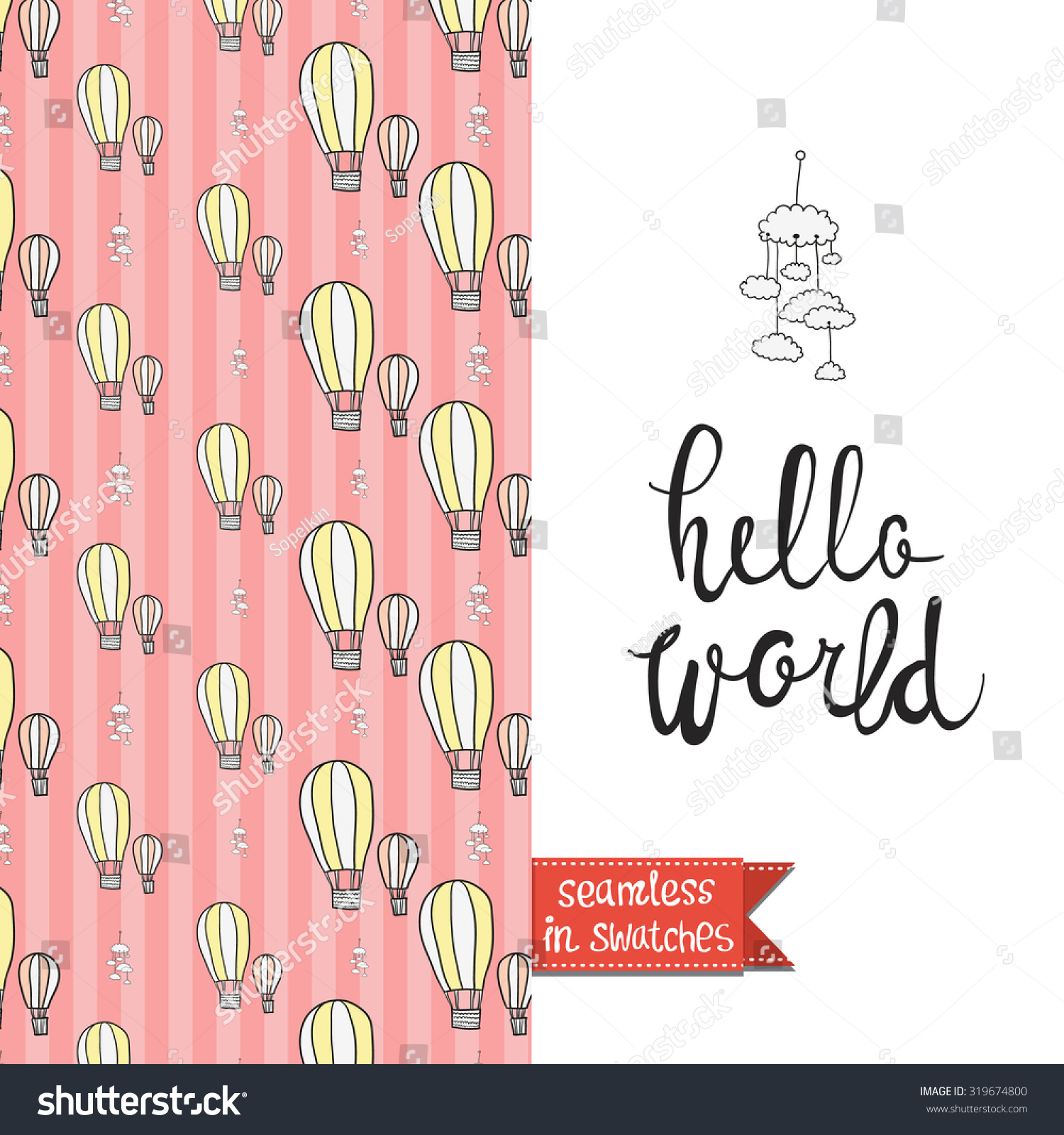 Double Sided Vintage Greeting Card Newborn Stock Vector Royalty