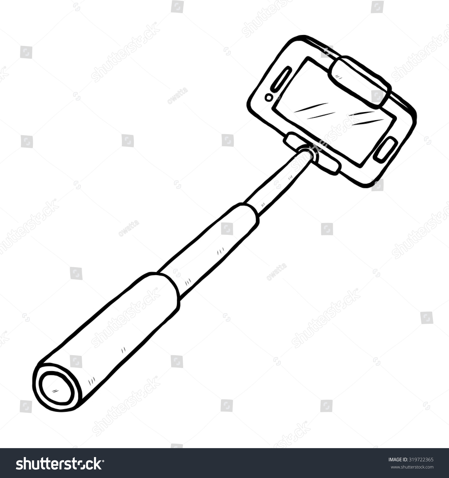 Selfie Stick And Smartphone Cartoon Vector And