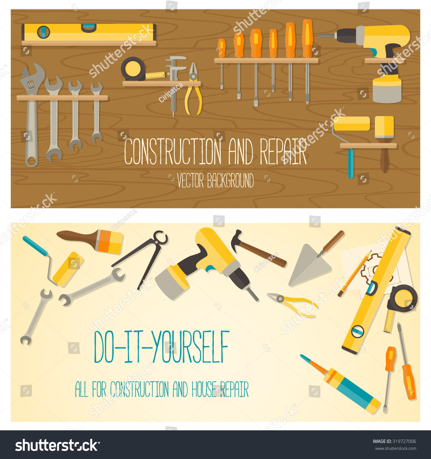 Do It Yourself Home Design: Web Banner Concept Diy Shop Vector Stock Vector 319727006