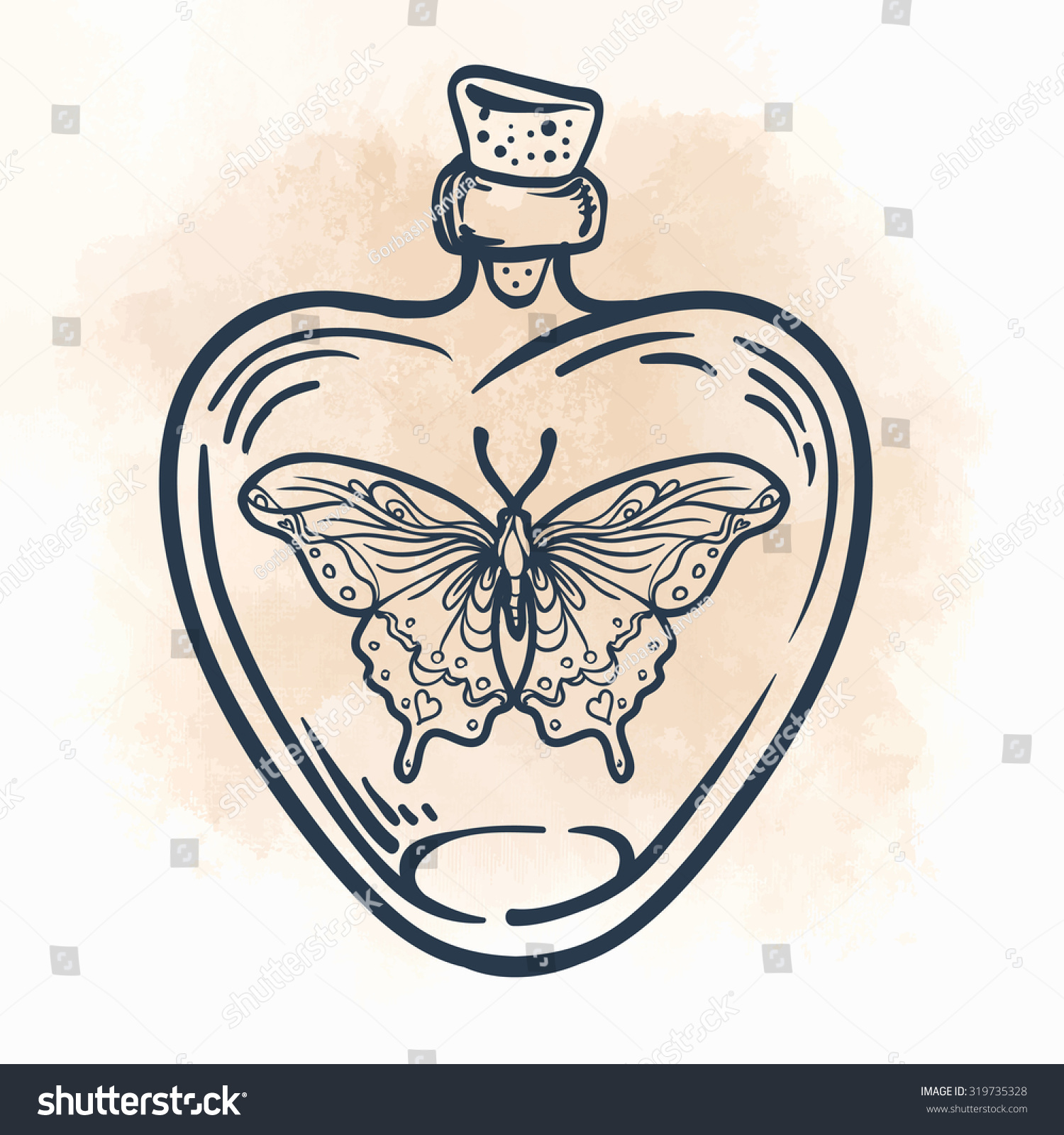 Butterfly Heartshaped Bottle Hand Drawn Engraving Stock Vector