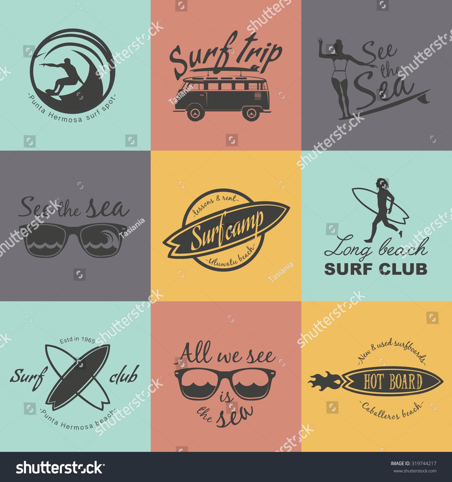 Shirt design vector pack - Set Of Surf Logo And Emblem Surf Summer T Shirt Design Surfing
