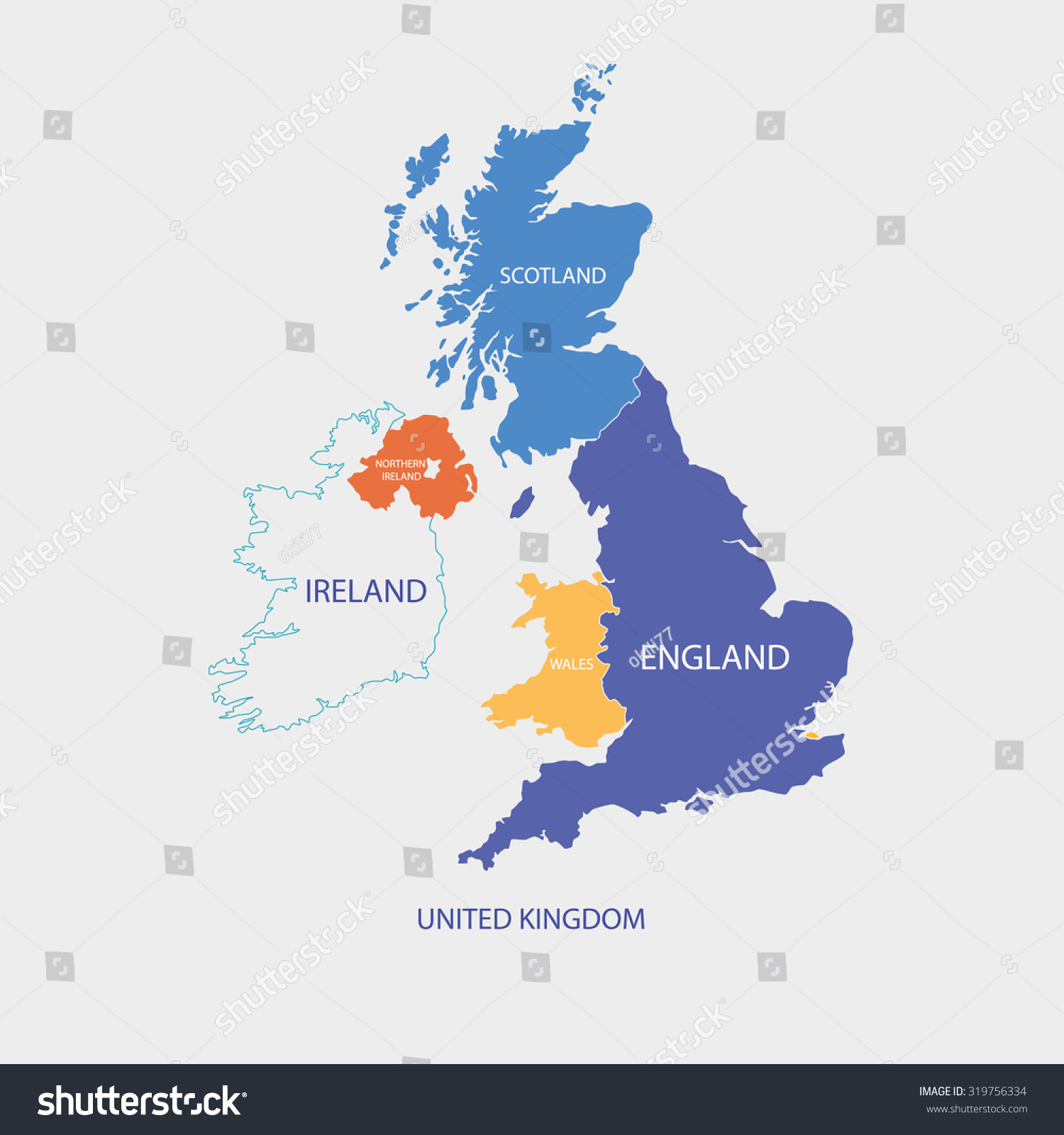 United kingdom map uk map borders vector de stock319756334 shutterstock united kingdom map uk map with borders in different color gumiabroncs Image collections