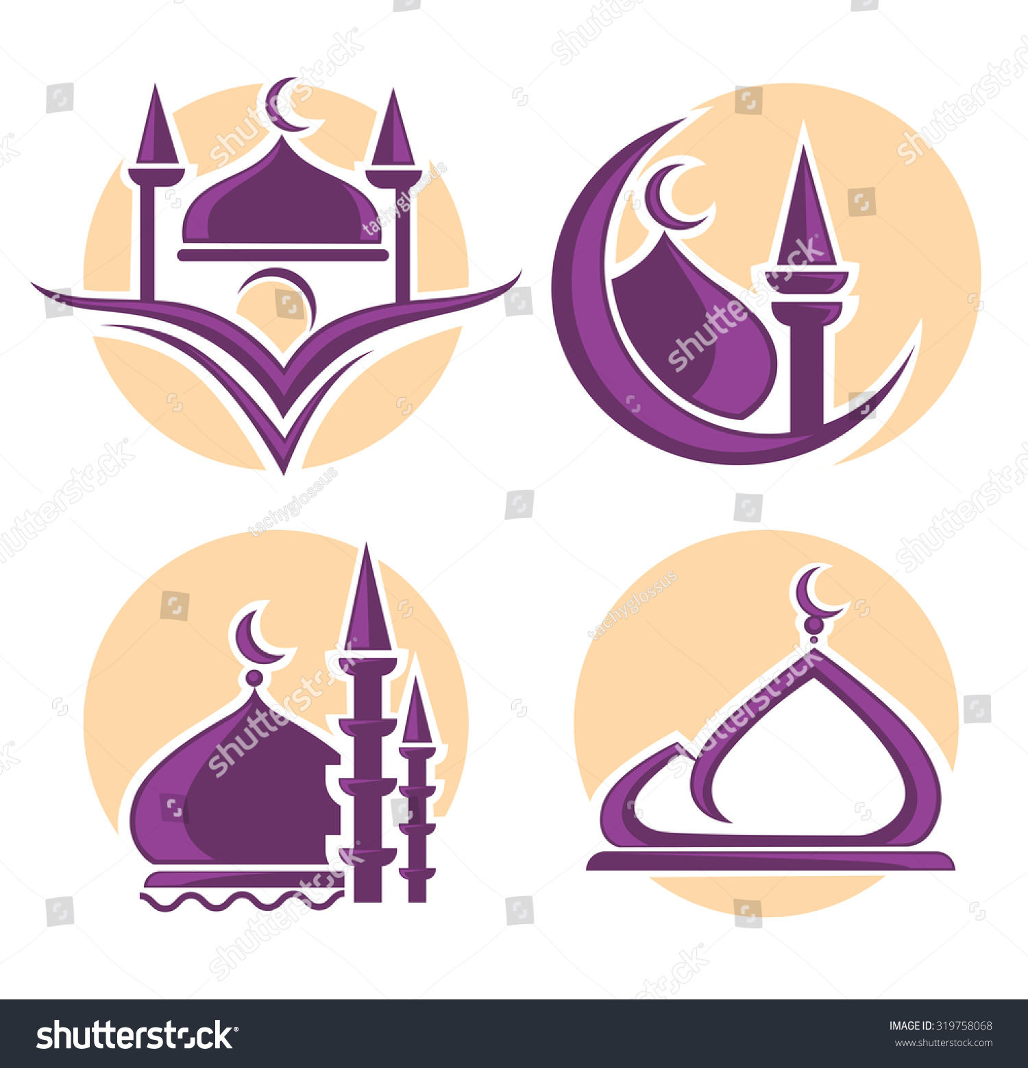 Islam Icons Symbols Logo Vector Collection Stock Vector Royalty