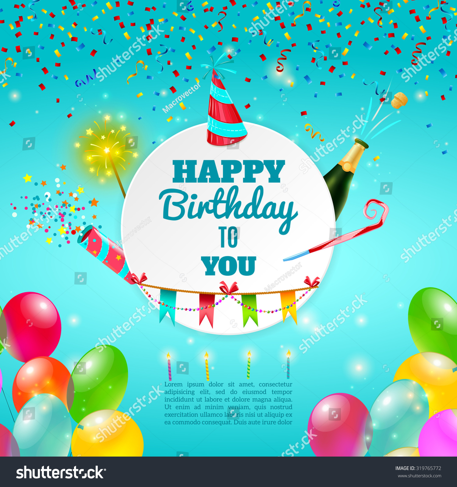 Happy Birthday Adult Party Celebration Background Stock Vector