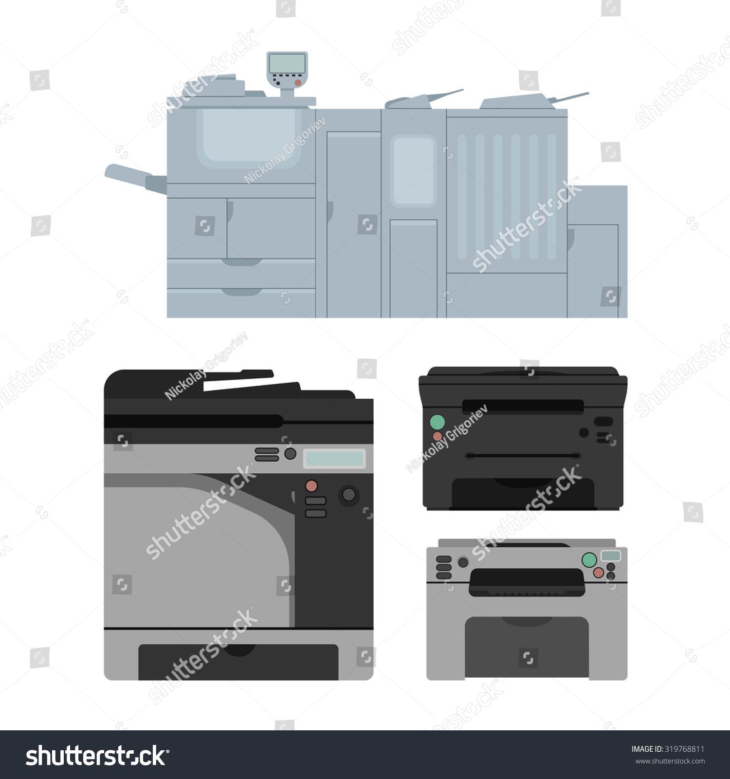set of isolated color laser printer in vector digital print machine design color copy - Color Copy Machine