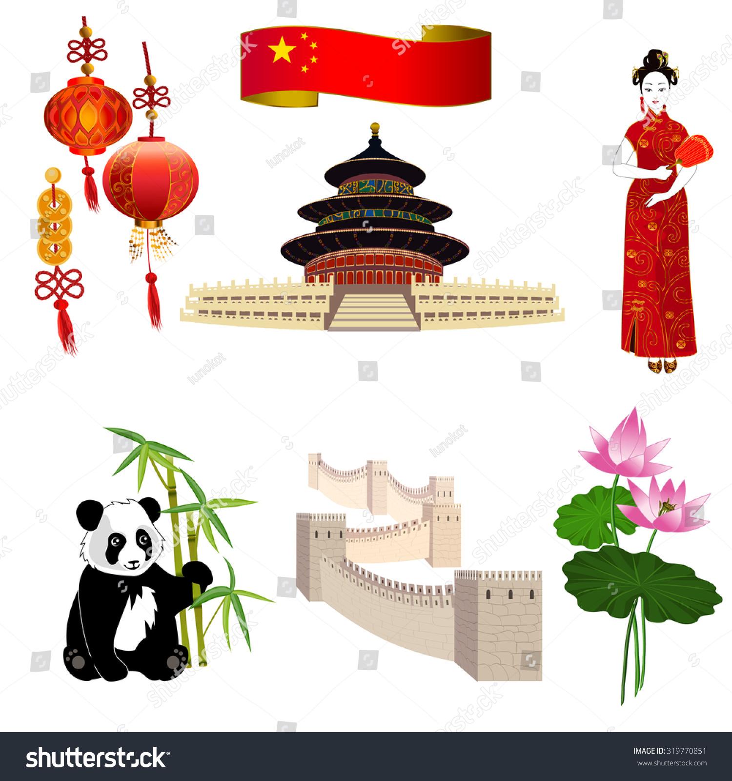 National Symbols China Chinese Woman Red Stock Vector 319770851