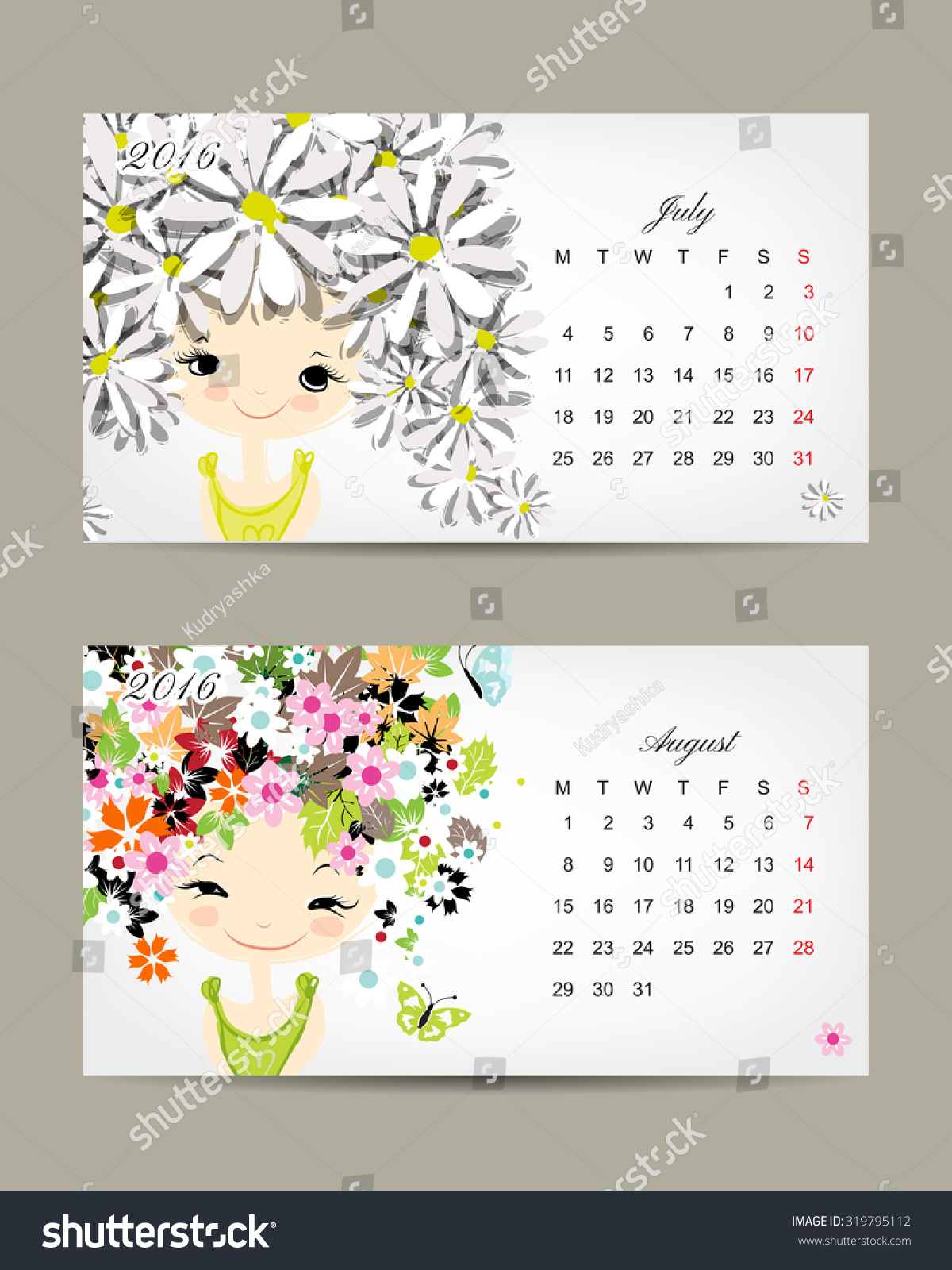 Calendar Month Illustration : Calendar july august months season stock vector