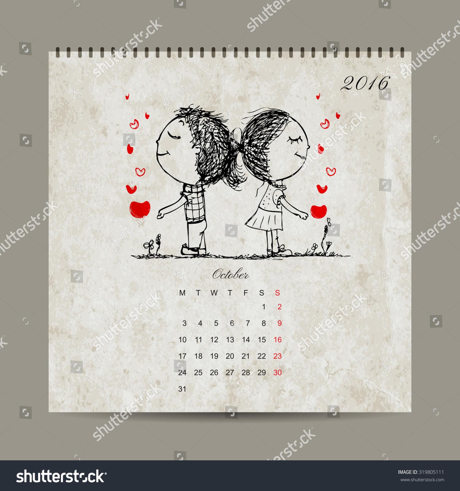 October Calendar Illustration : Calendar grid design october couple in love