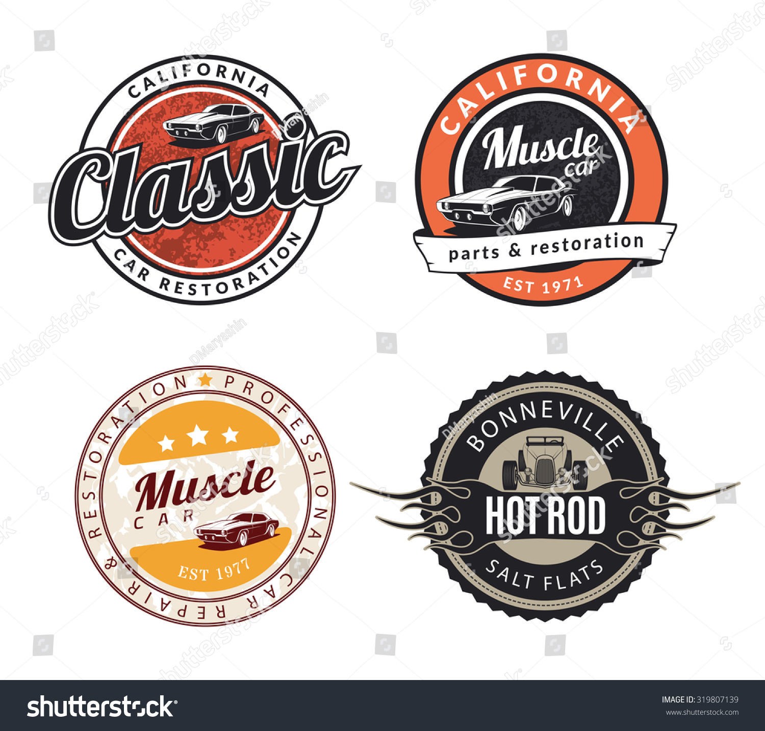 Old Vintage Car Signs : Set classic muscle car emblems badges stock vector