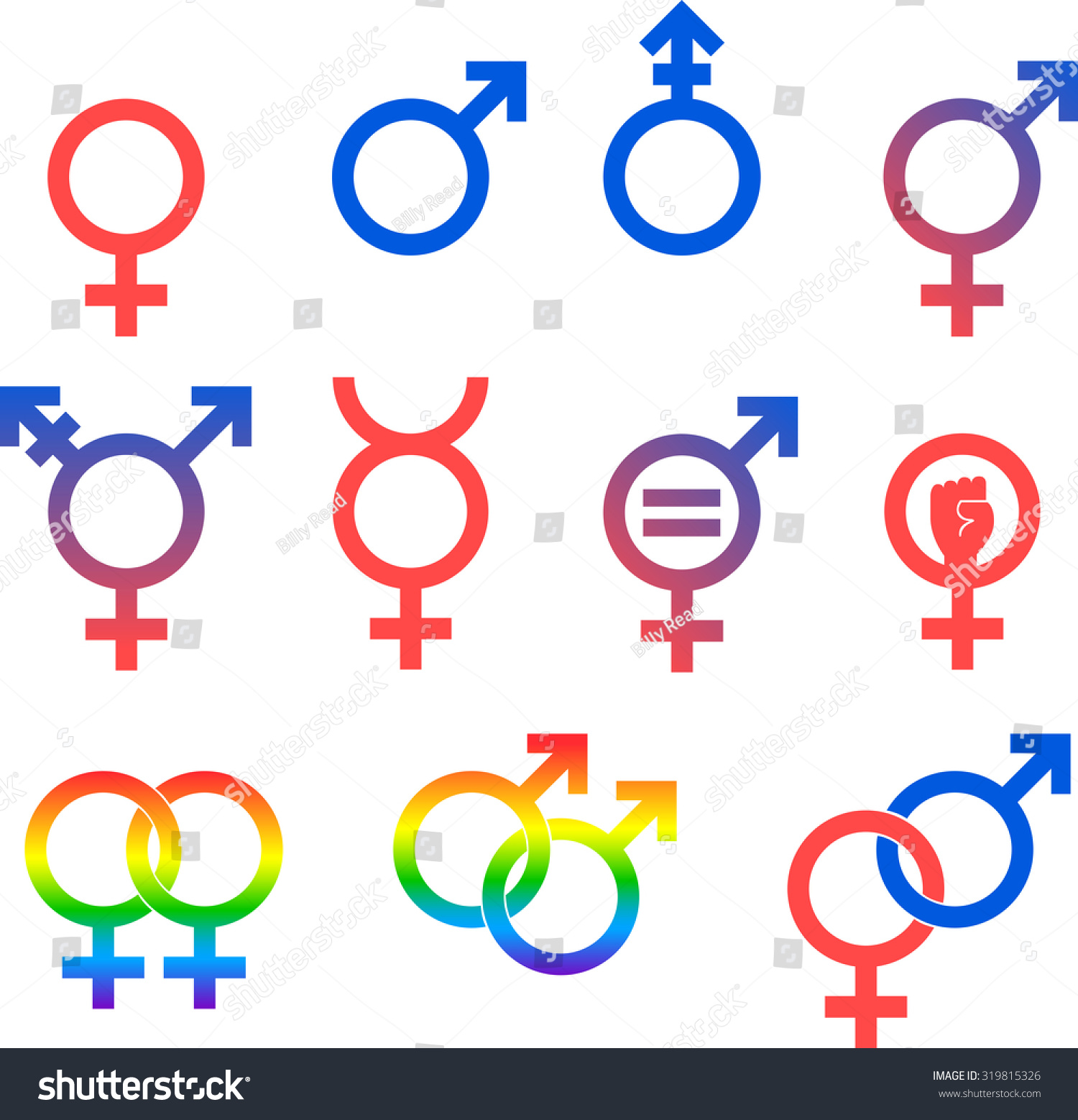 Gender icons set vector graphic images stock vector 319815326 gender icons set of vector graphic images representing the universal symbols for gender and sexuality buycottarizona