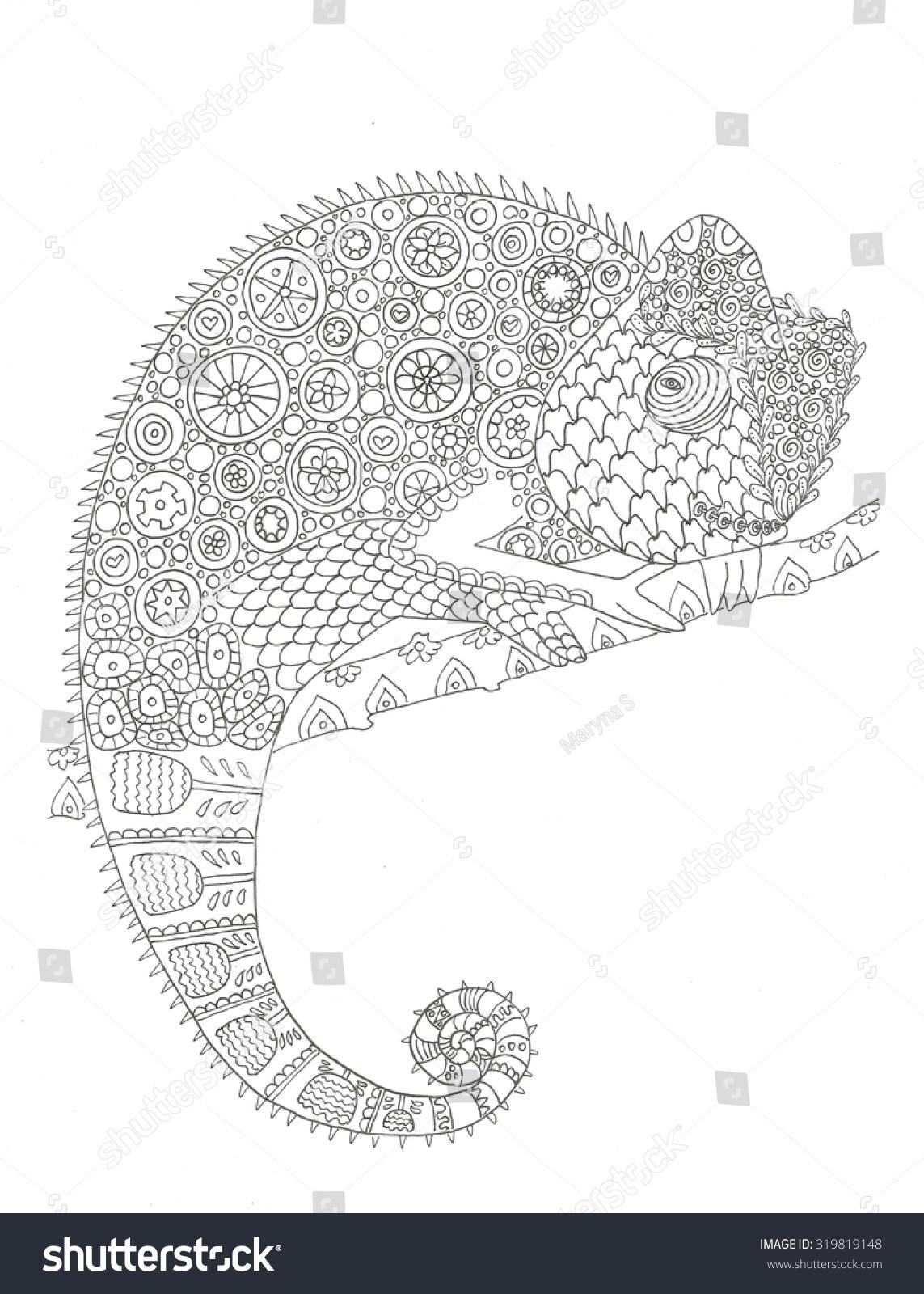 Chameleon Animal Wildlife Coloring Page Stock Photo