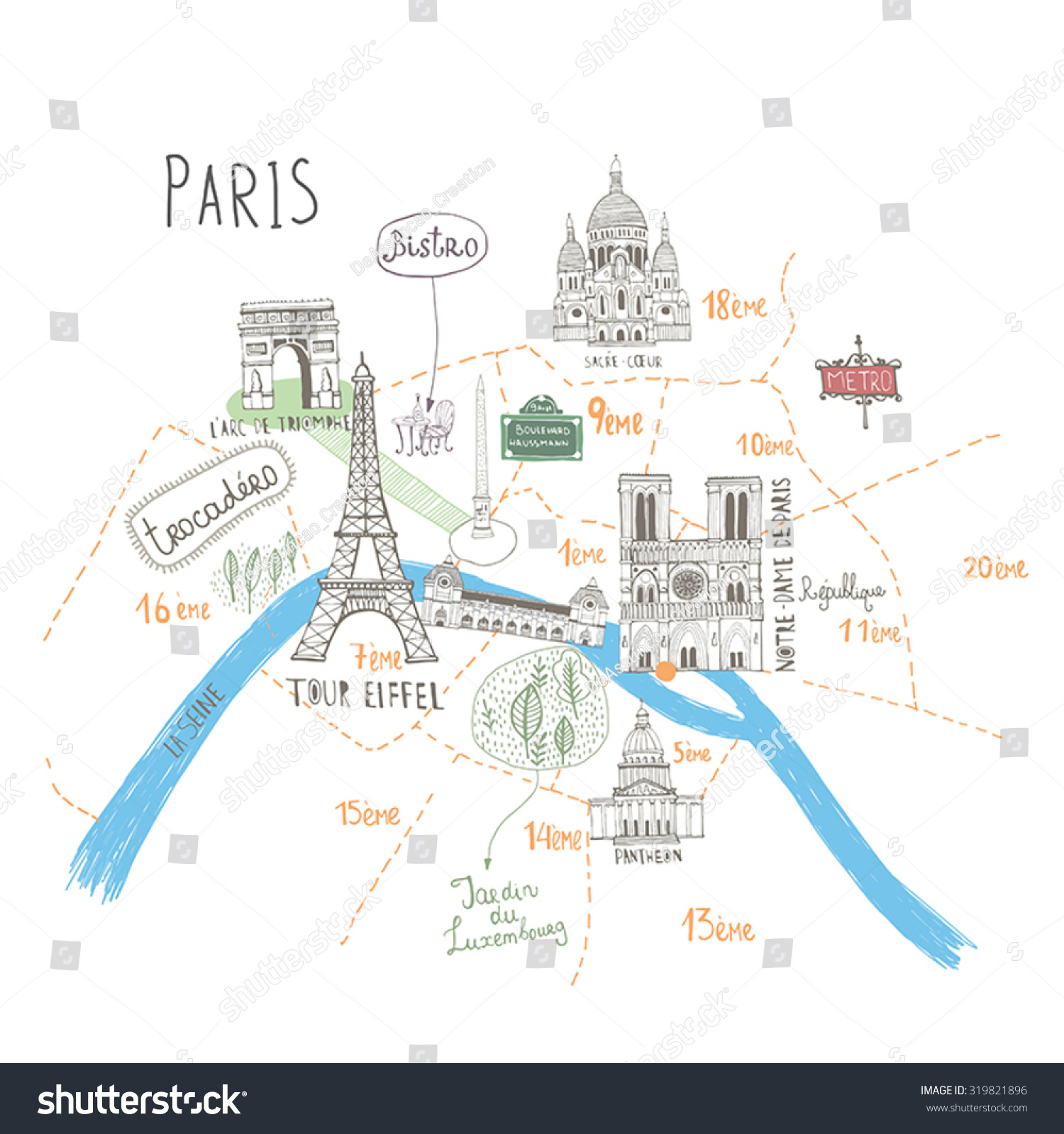 Easy Map Of Paris Paris City Map Simple Paris Attractions Map – Map Of Paris Tourist Sites