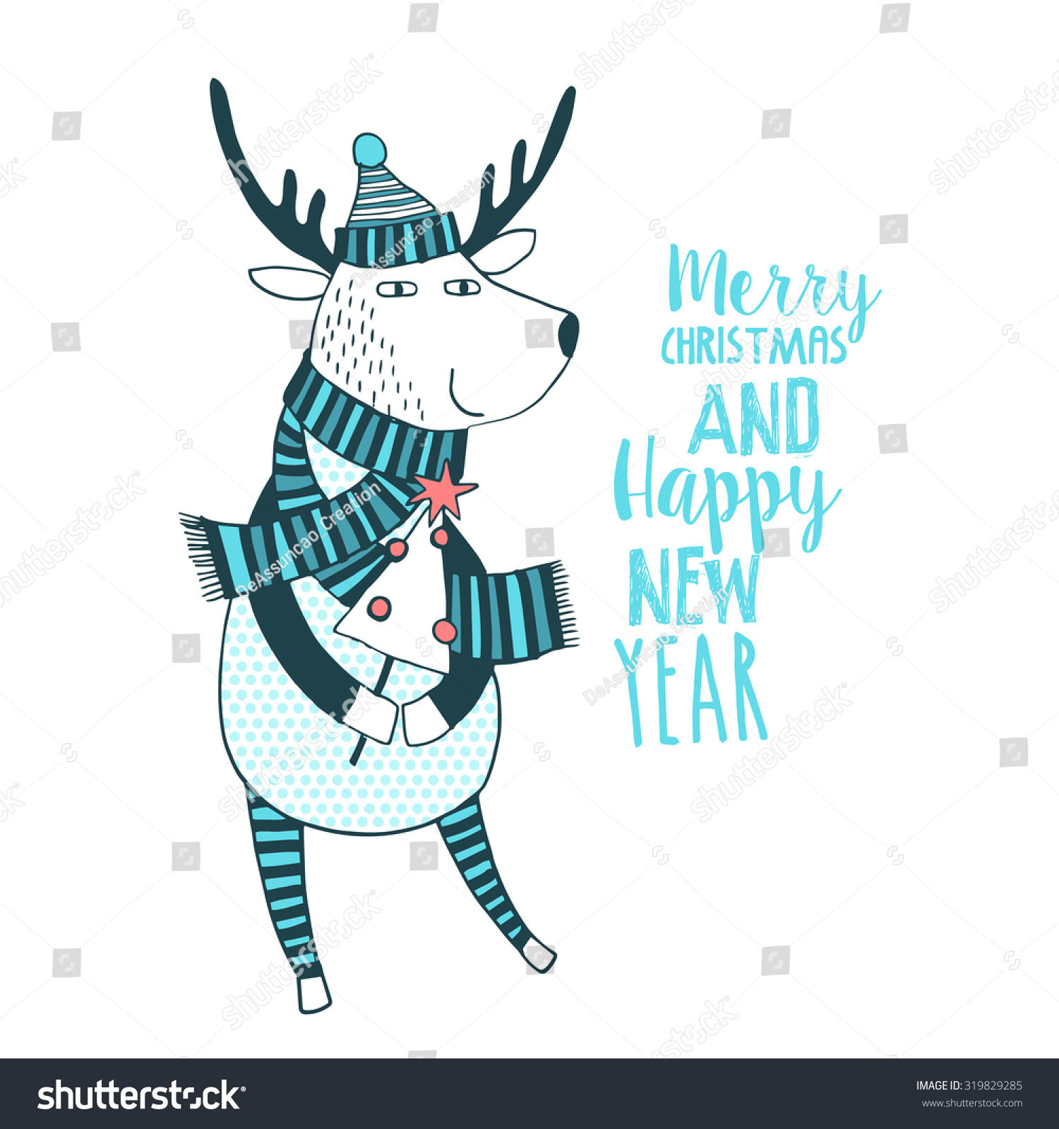 cute merry christmas and happy new year card with deer lovely cartoon background with holiday