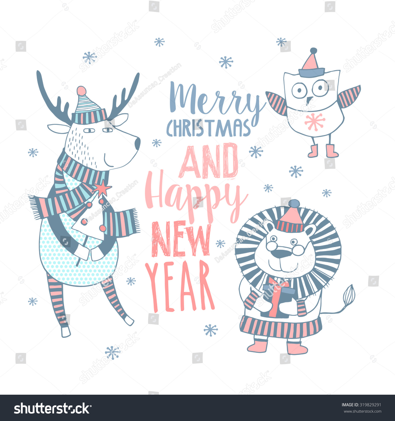 cute merry christmas happy new year card with animals lovely cartoon background with holiday symbols