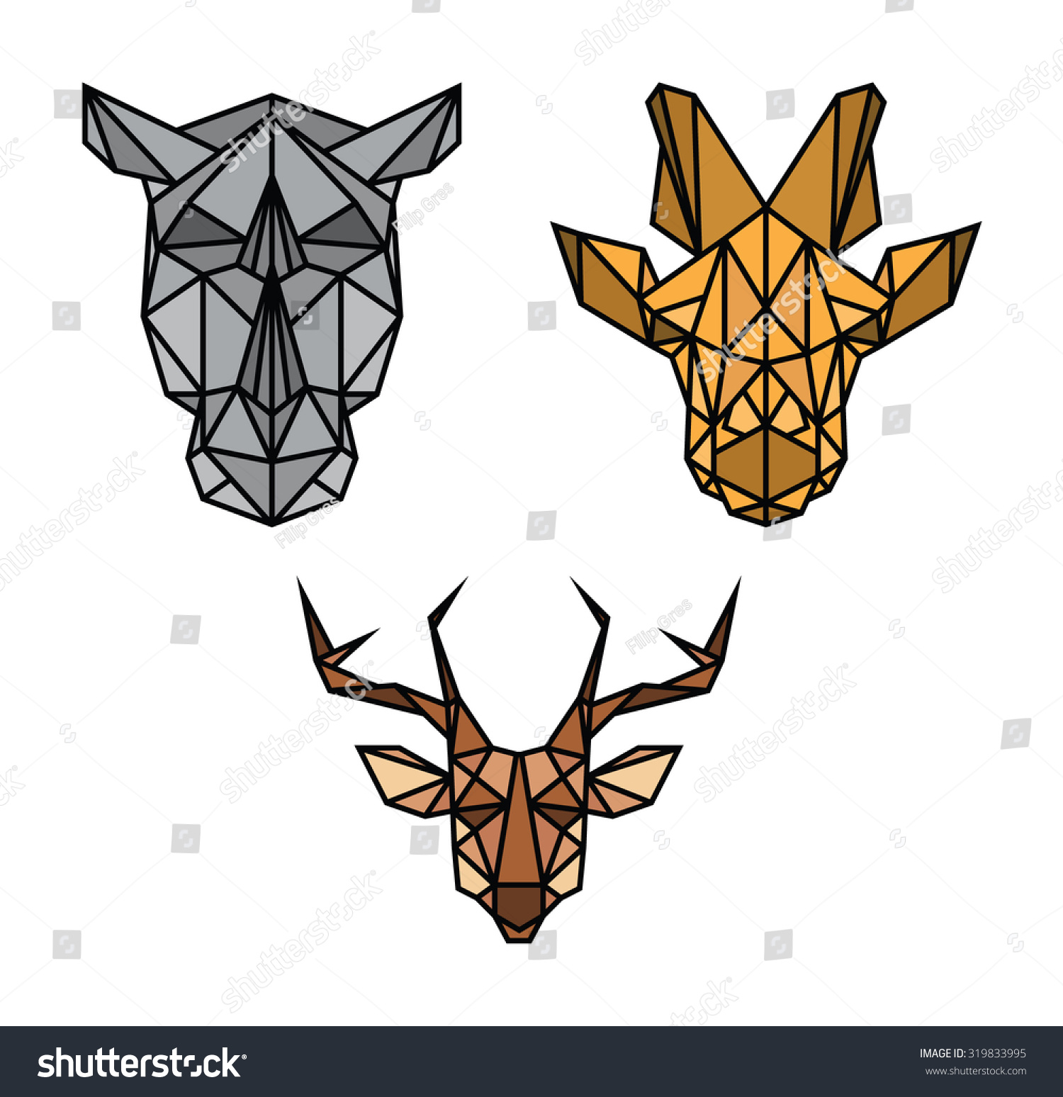 Geometric Animal Heads Stock Vector 319833995 - Shutterstock