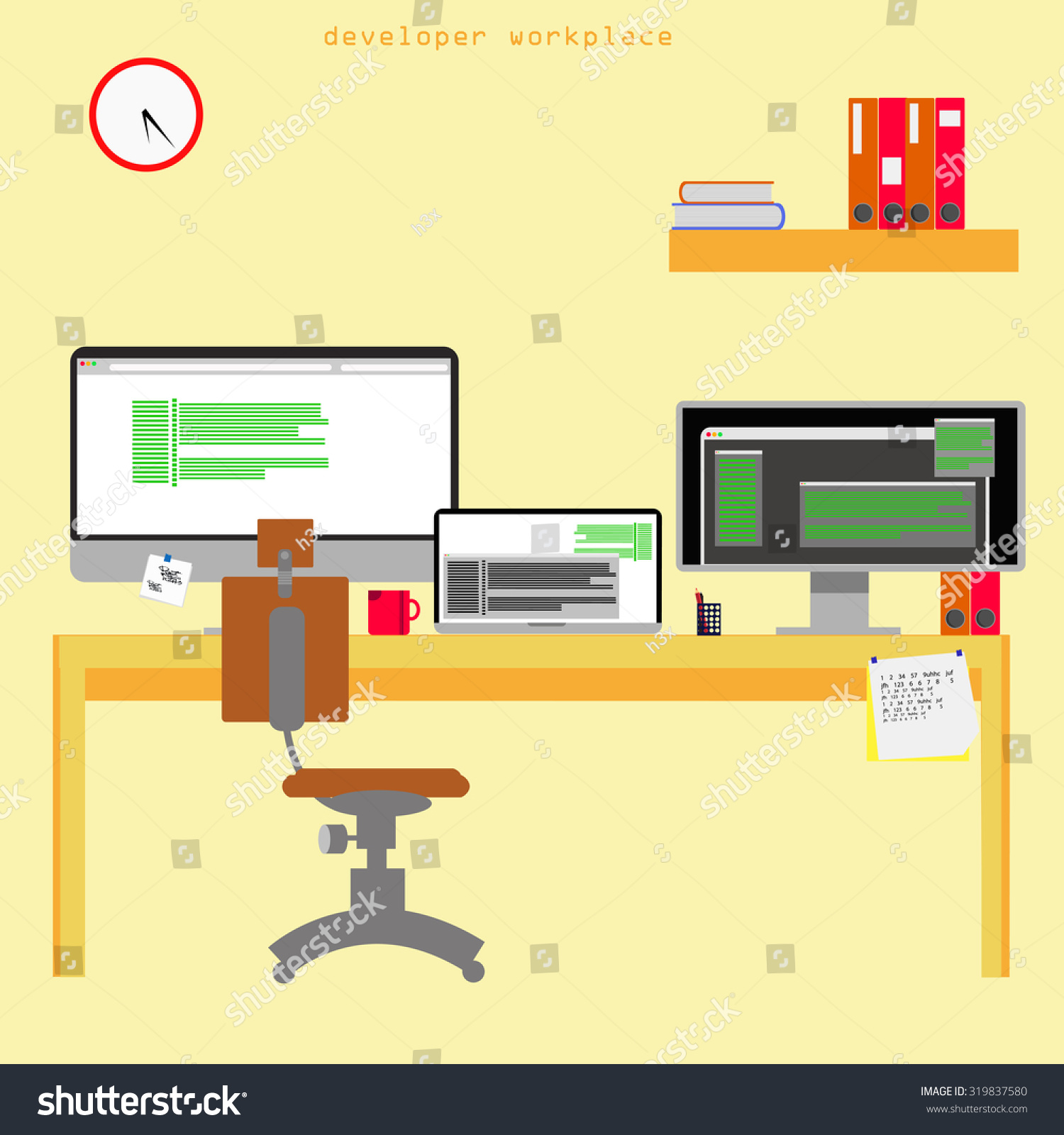 home office items. Home Office Vector Illustration On Yellow Background. Cute Cartoon Items. Programmer Work Place. Items