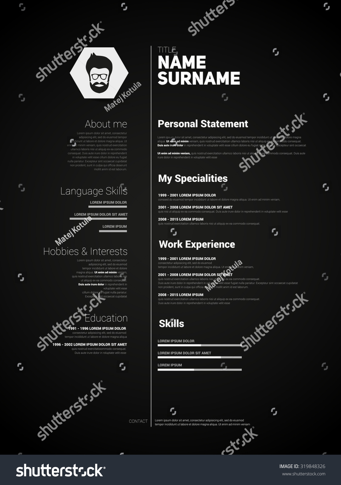 mini st cv resume template simple design vector dark mini st cv resume template simple design vector dark version