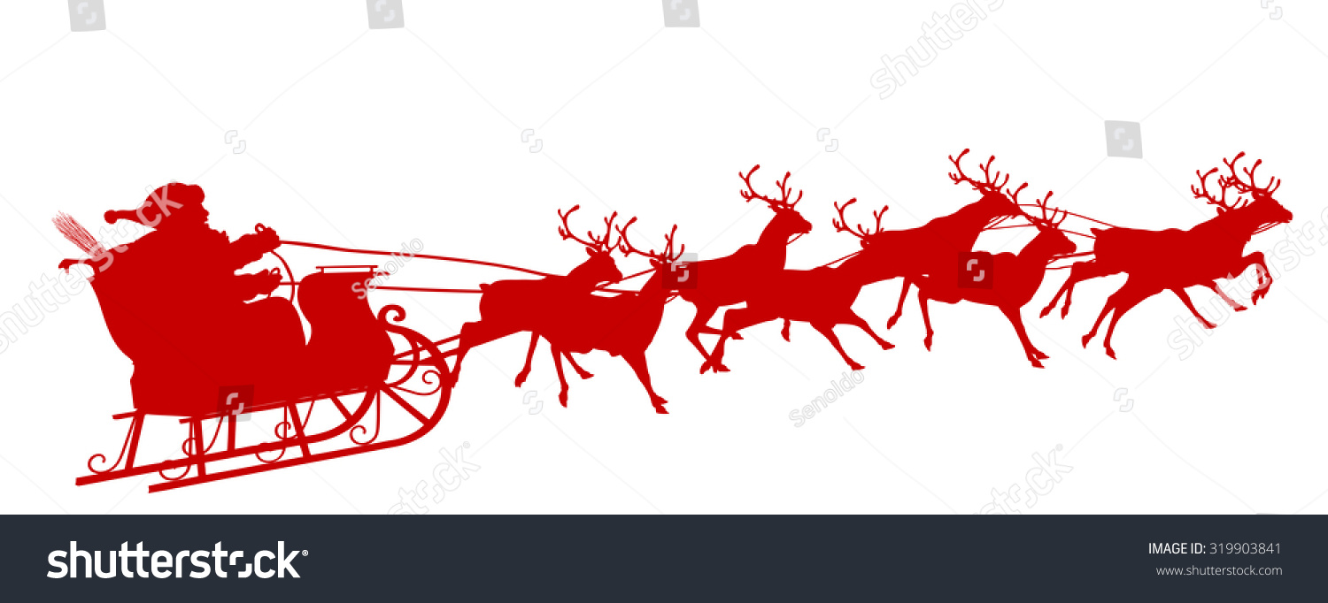 santa claus reindeer sleigh red silhouette stock vector Happy St. Nicholas Day Clip Art Happy St. Nicholas Day Clip Art