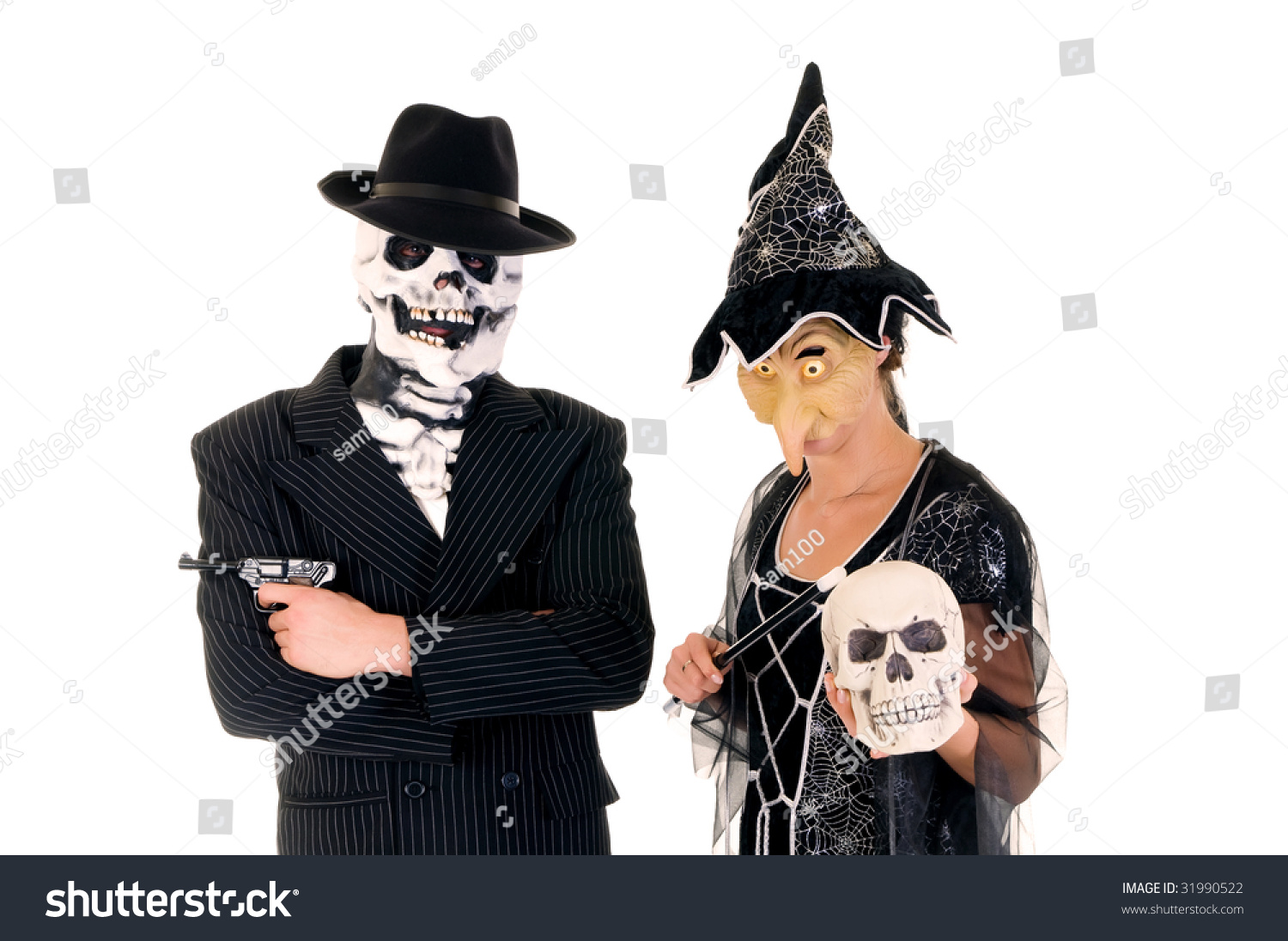 Attractive Young Halloween Couple Mafia Suit Stock Photo 31990522 ...