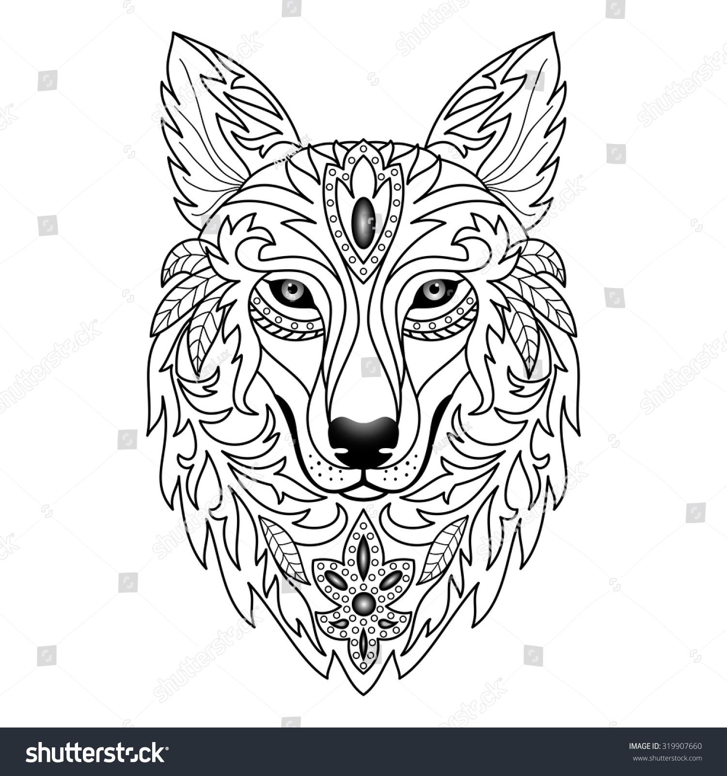 ornamental wolf vector illustration textile prints stock vector 319907660 shutterstock. Black Bedroom Furniture Sets. Home Design Ideas