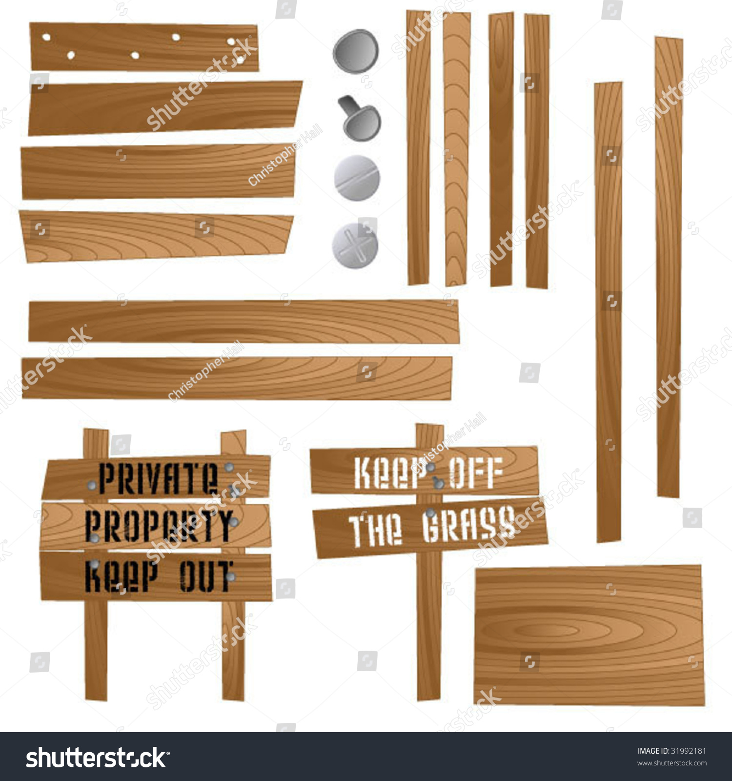 Create Your Own Wooden Signs Stock Vector Illustration