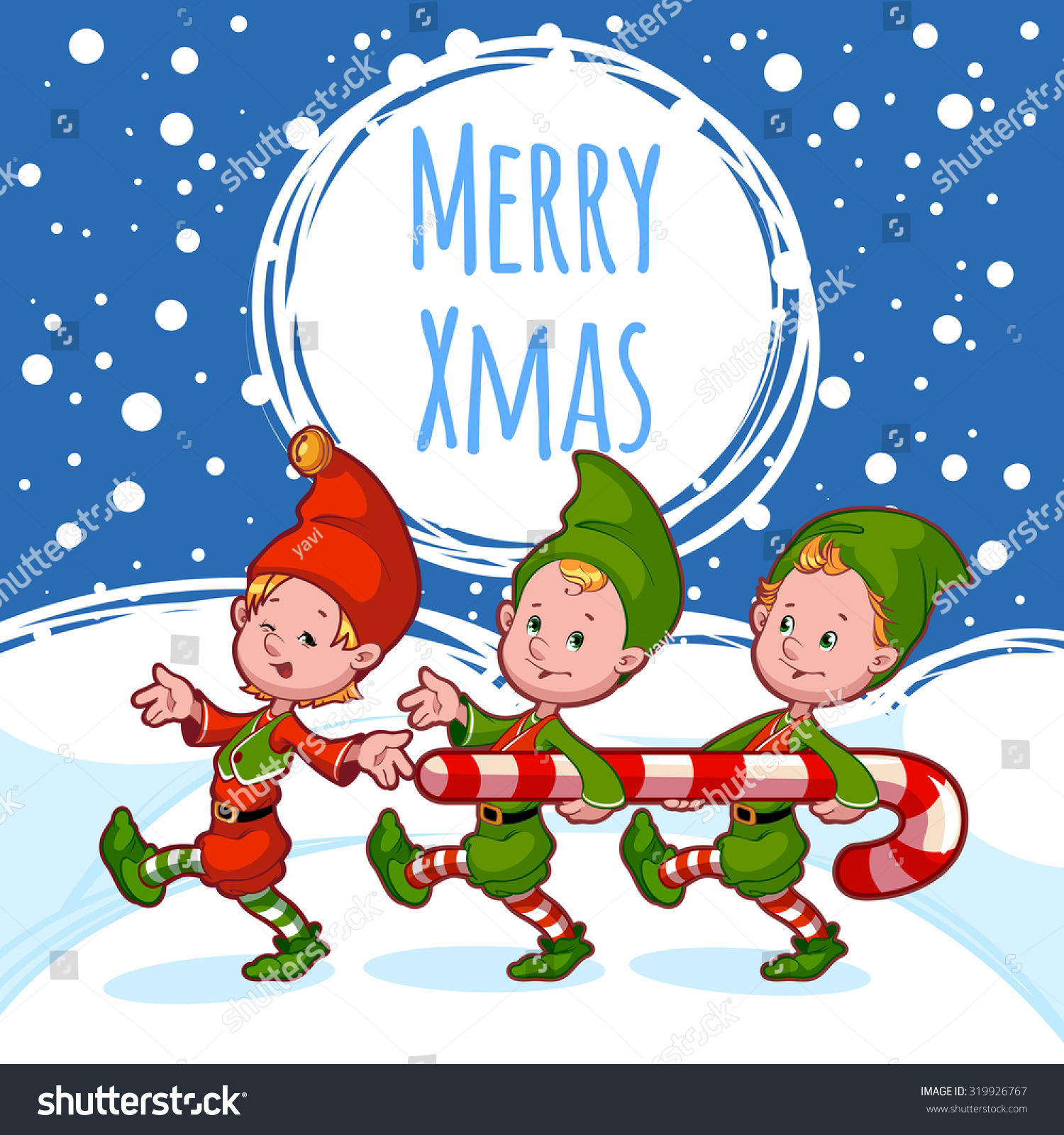 Christmas Card With Three Elves With Candy. Template Christmas ...