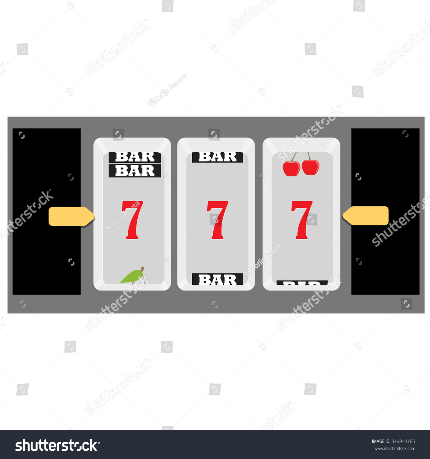 vector illustration slot machine symbols cherry seven and bar
