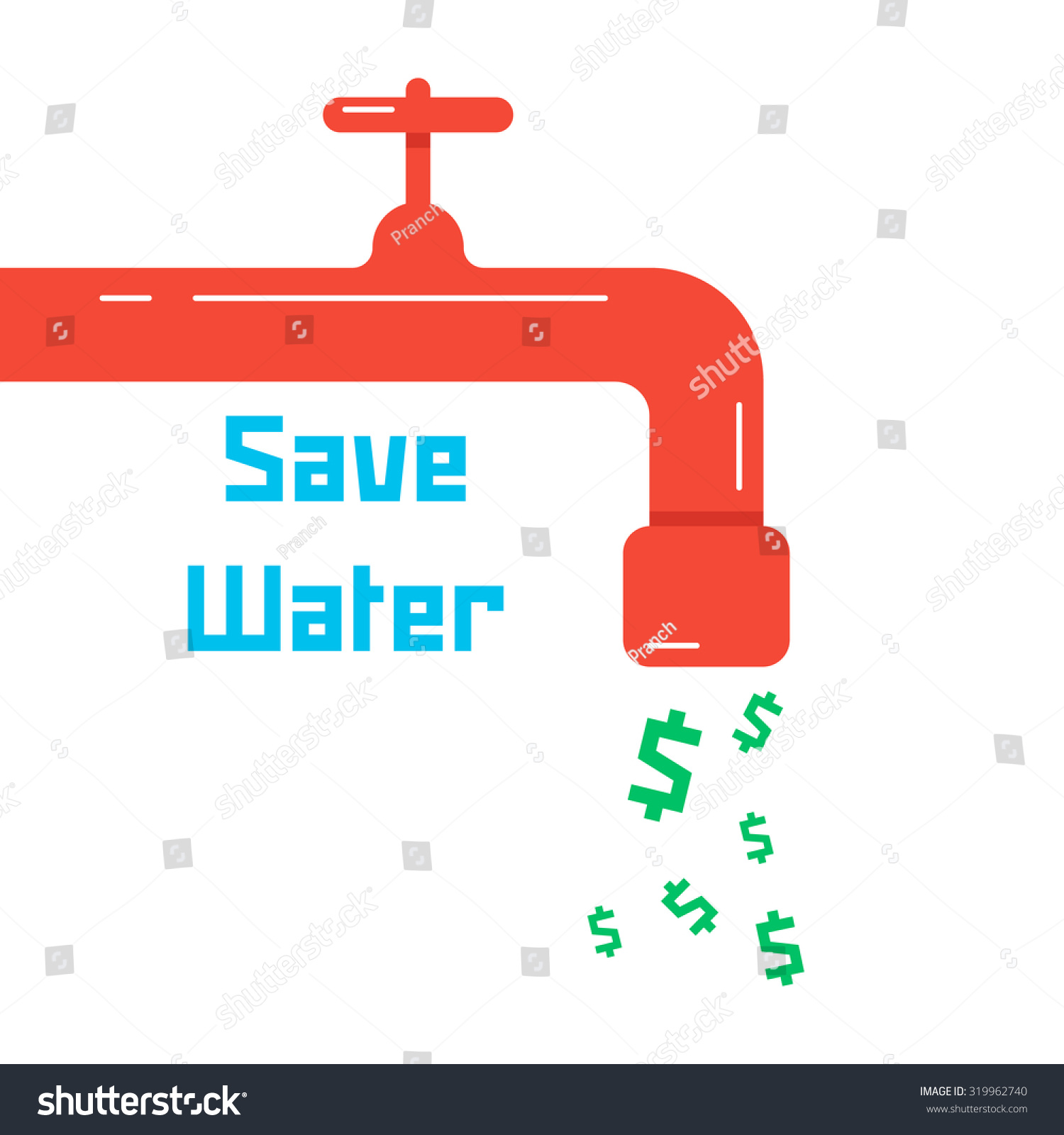 Save Water Red Faucet Concept Thrifty Stock Vector 319962740 ...