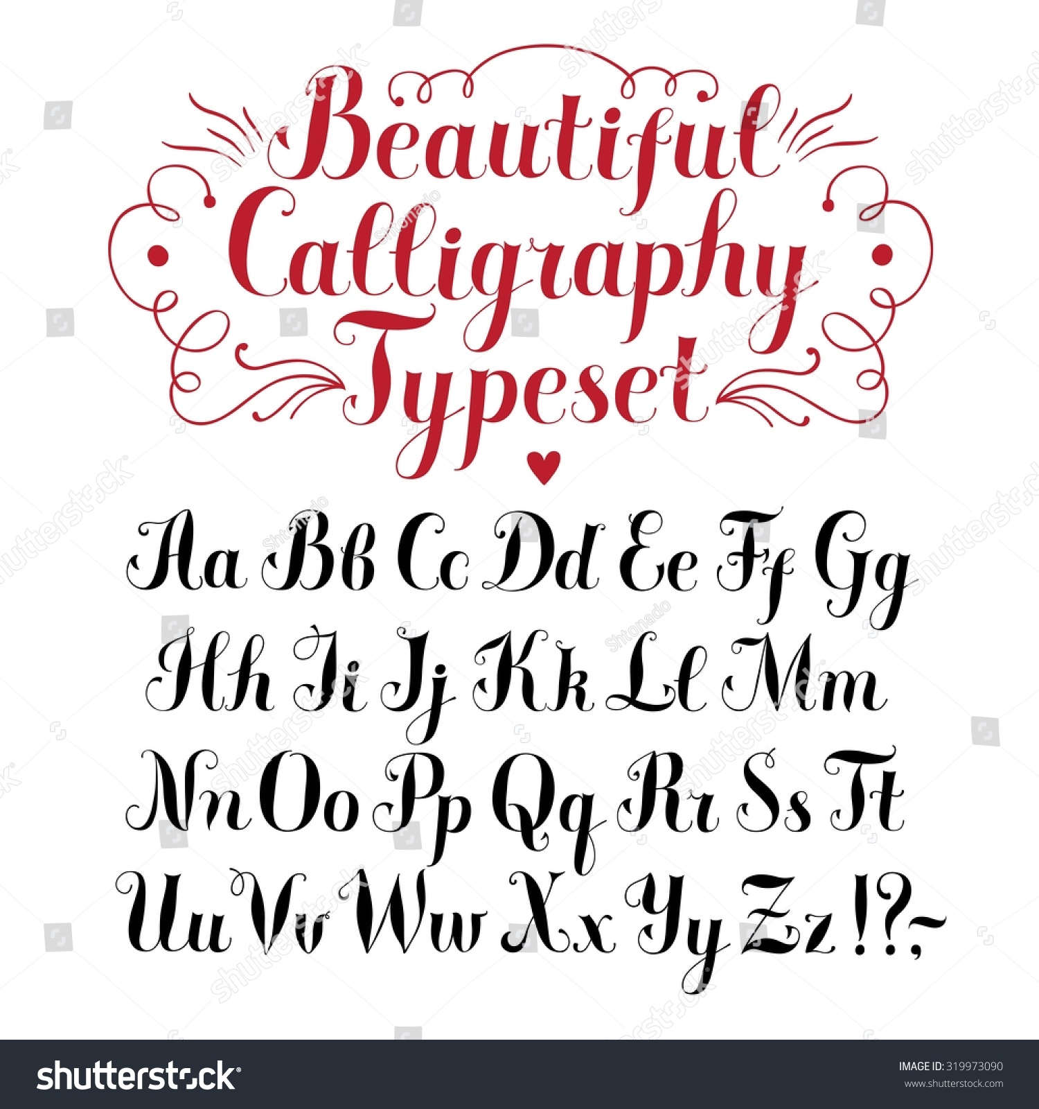 Hand Drawn Brush Calligraphy Vector Abc Letters Beautiful