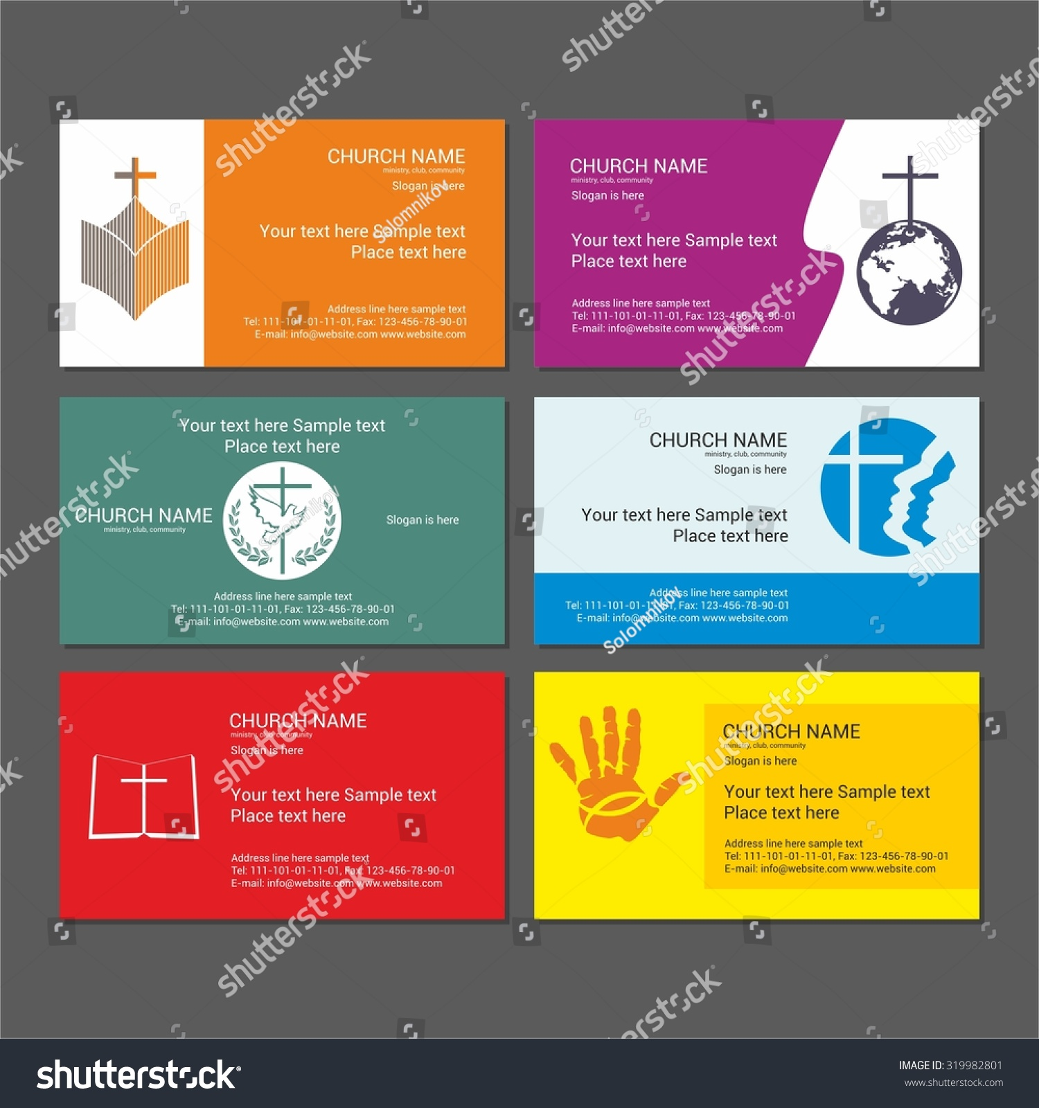 Set Christian Business Cards Church Ministry Stock Vector 319982801 ...