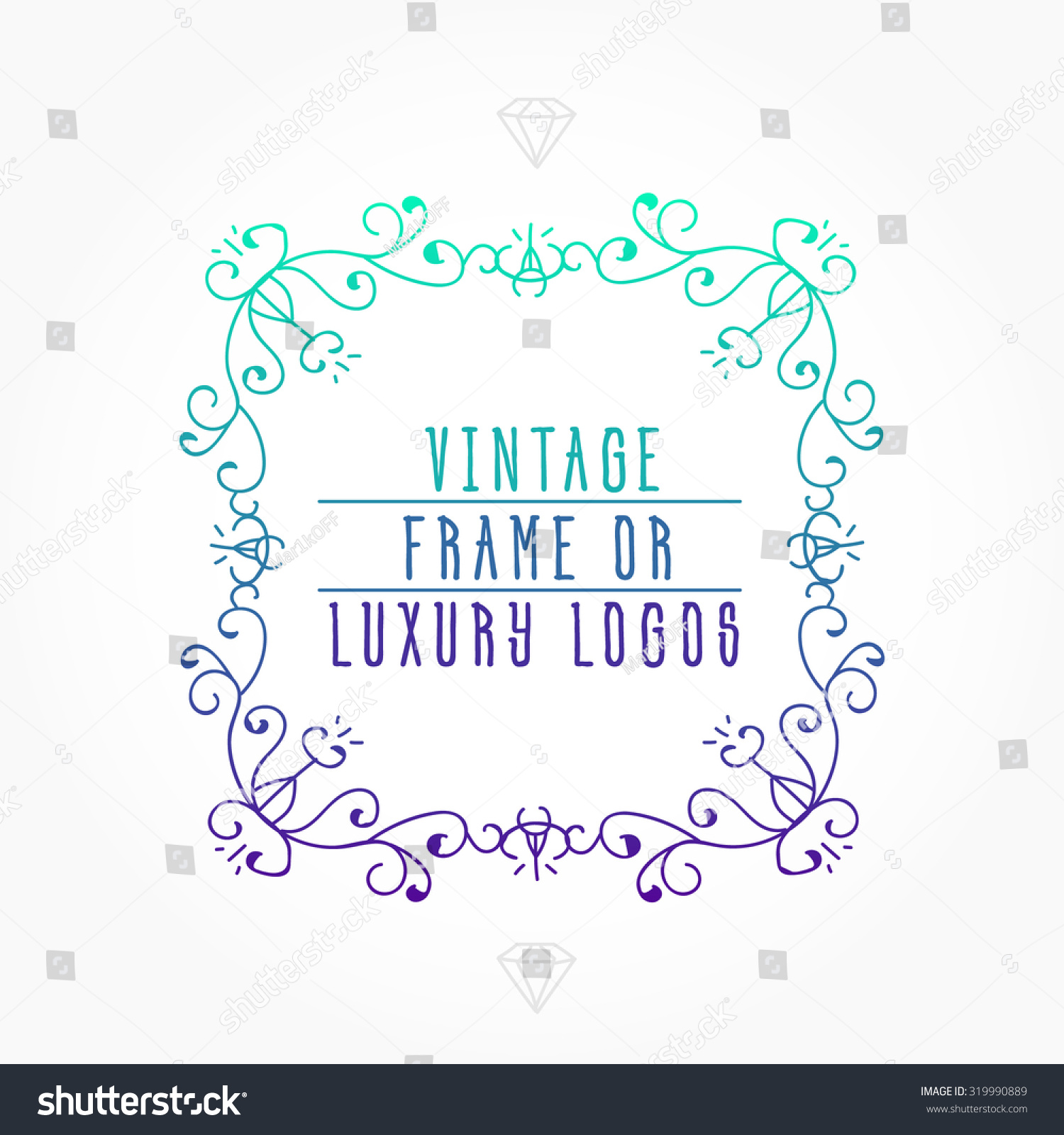 Vintage Frame Luxury Logos Greeting Cards Stock Vector 2018