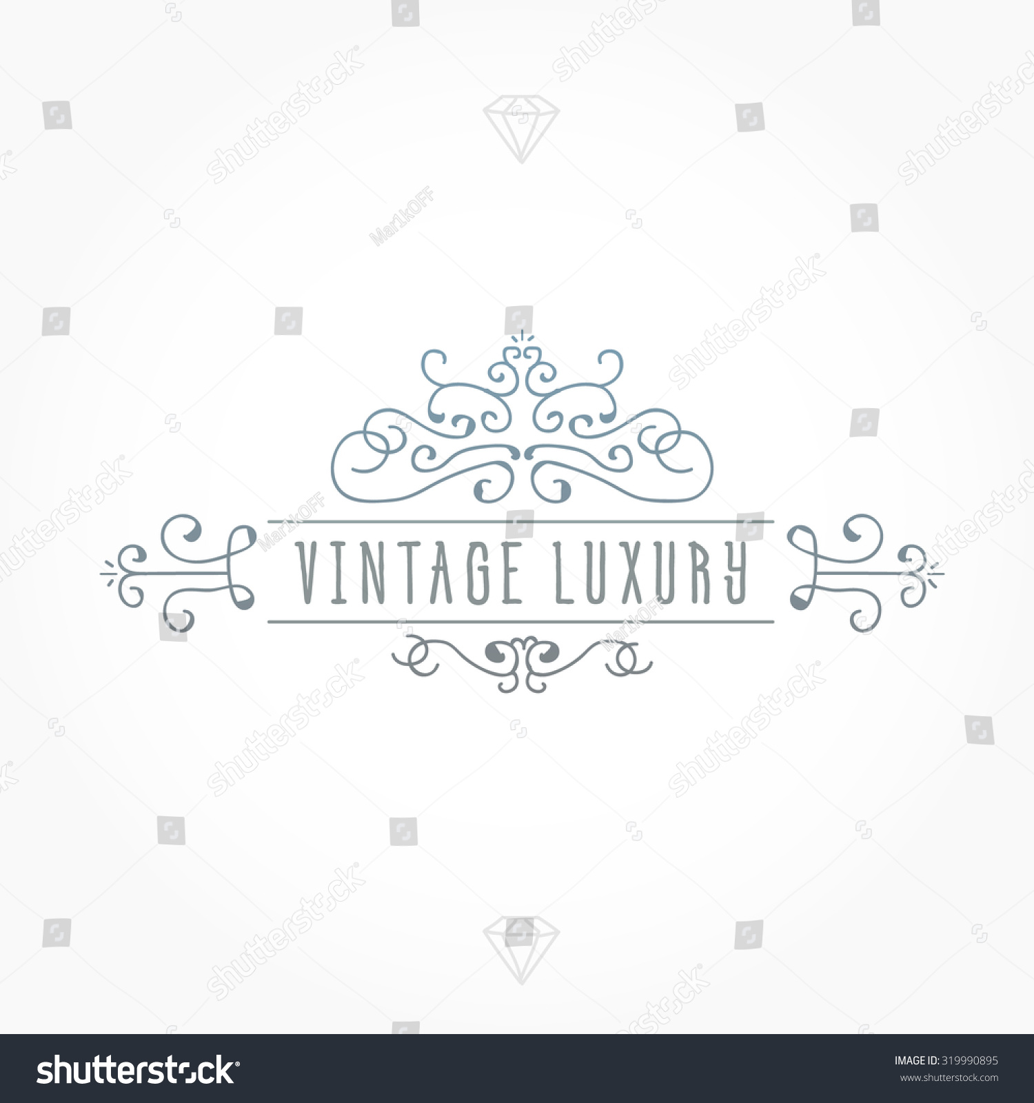 Vintage Frame Luxury Logos Greeting Cards Stock Vector 319990895