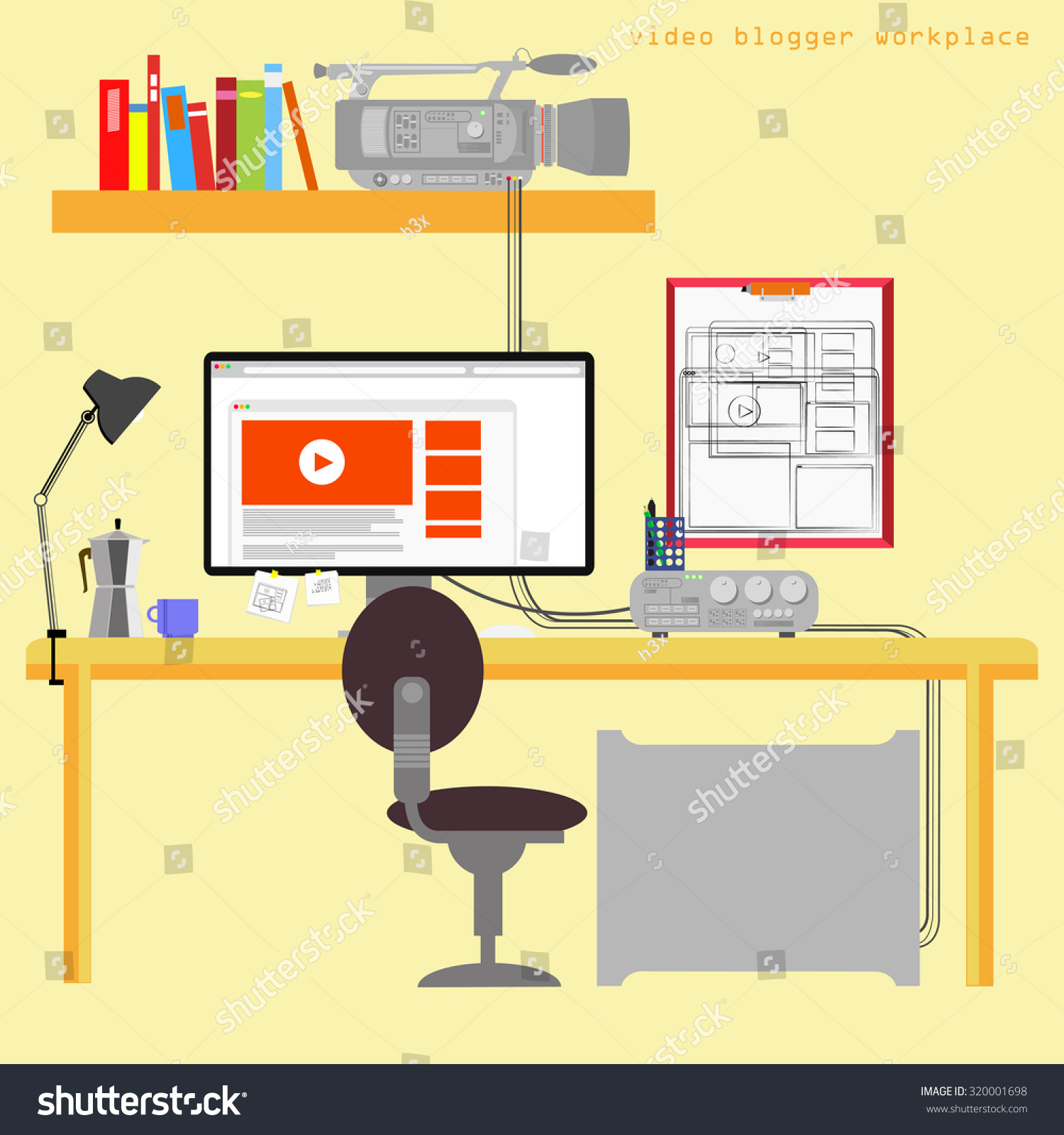 Royalty Free Home Office Vector Illustration On 320001698 Stock