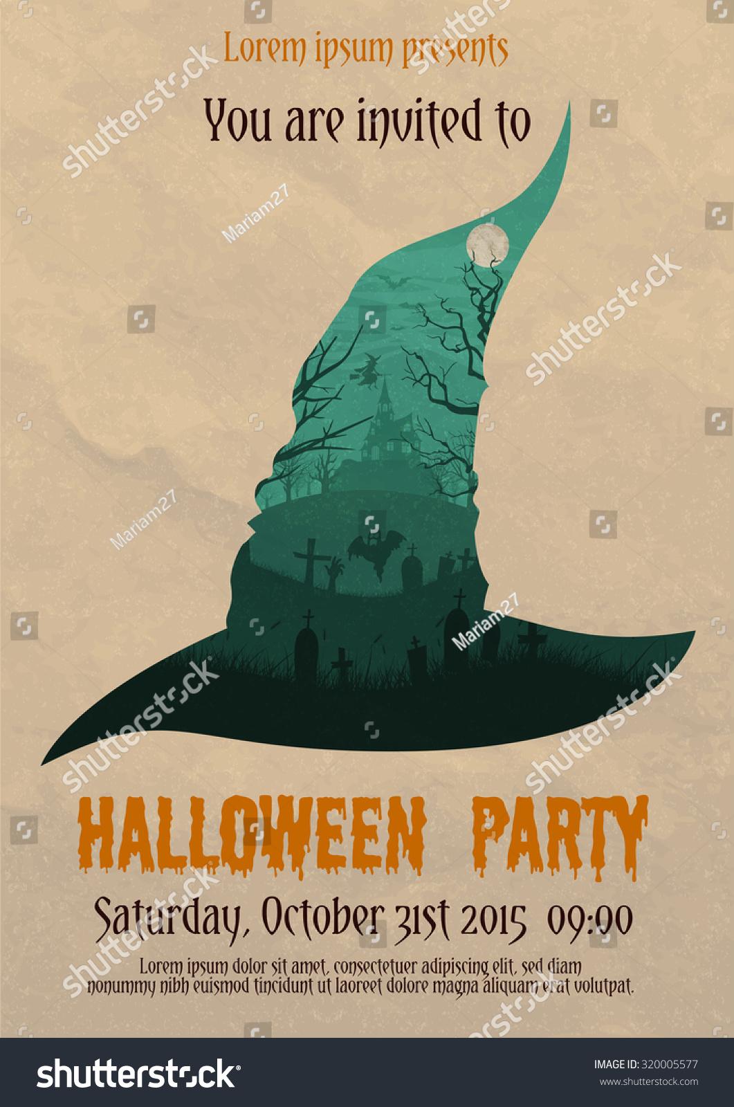 Vector Illustration Vintage Halloween Party Invitation Stock ...